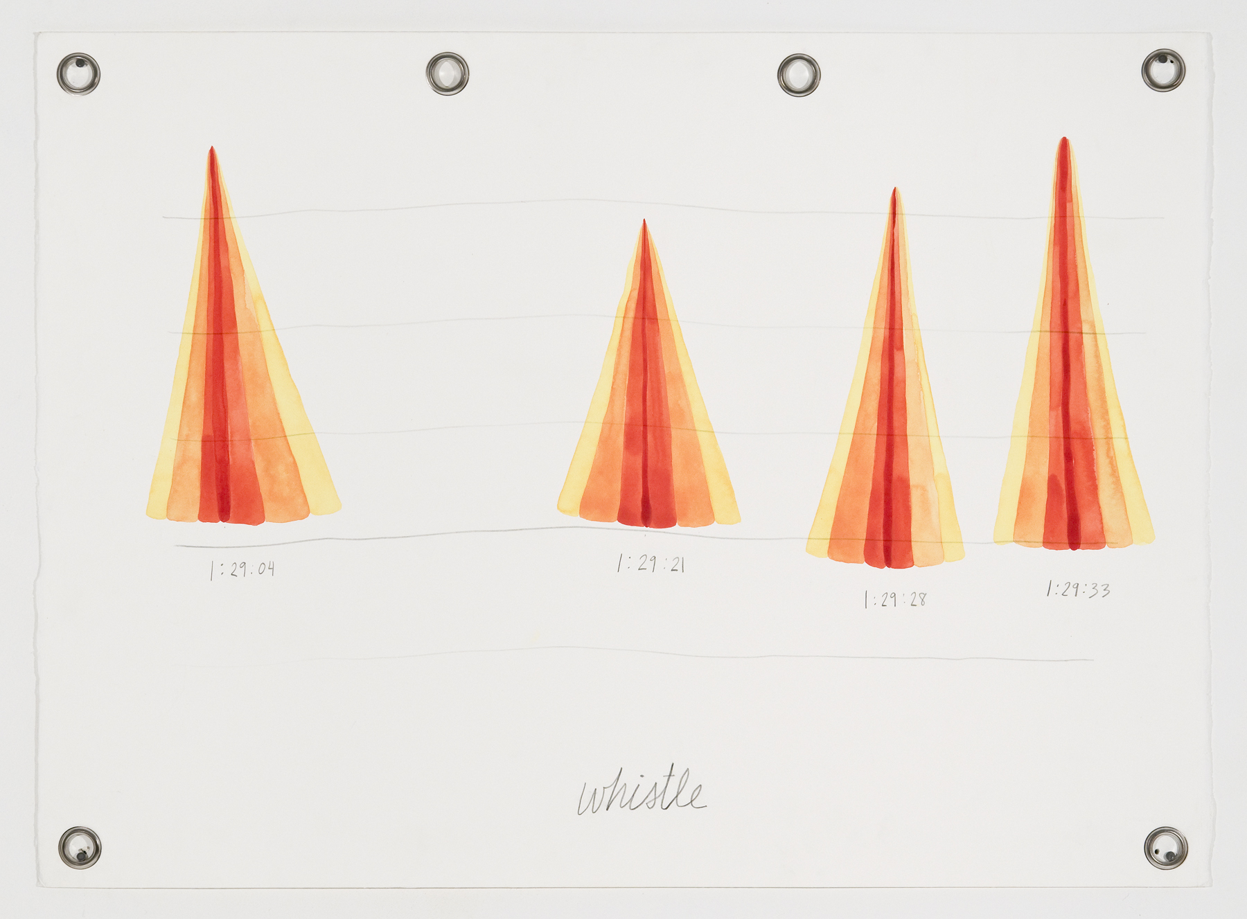 Ander Mikalson   Score for a Cyclone (Whistle),  2013 watercolor and graphite on paper, metal grommets 22 x 30 inches