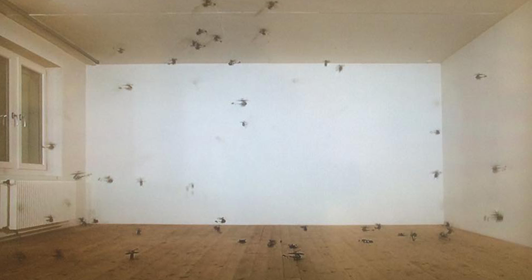 Roman Signer   56 kleine Helikopter  (56 Small Helicopters), 2008 single channel video with sound