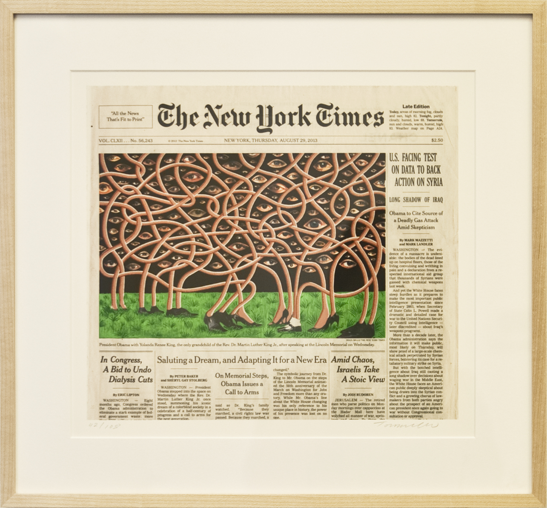 Fred Tomaselli   August 29, 2013 , 2014 silkscreen on digital print 14 x 15 inches