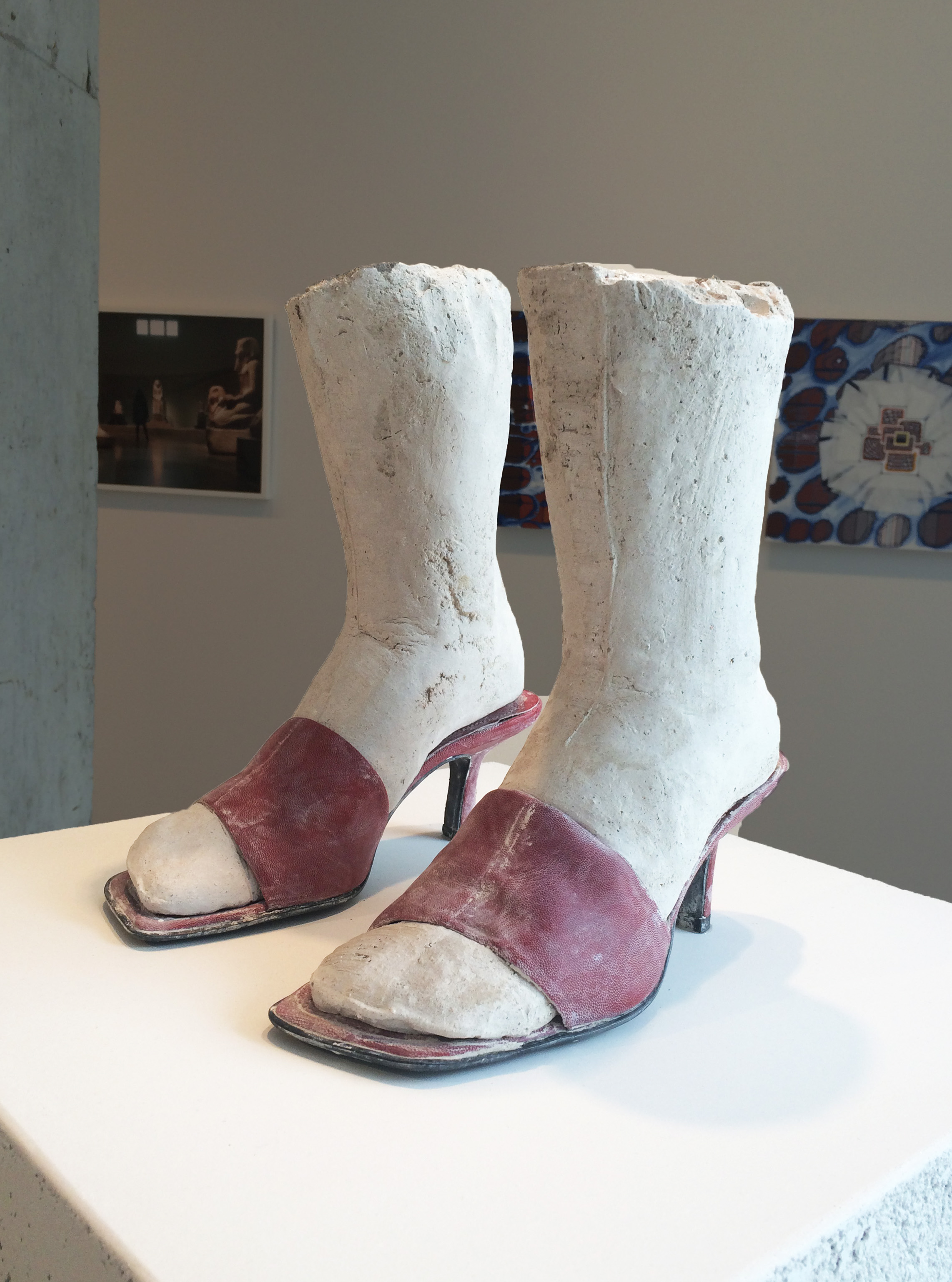 Ashley Lyon   Choir (red), 2010-2014 unfired clay, plaster, shoes 12 x 12 x 12 inches
