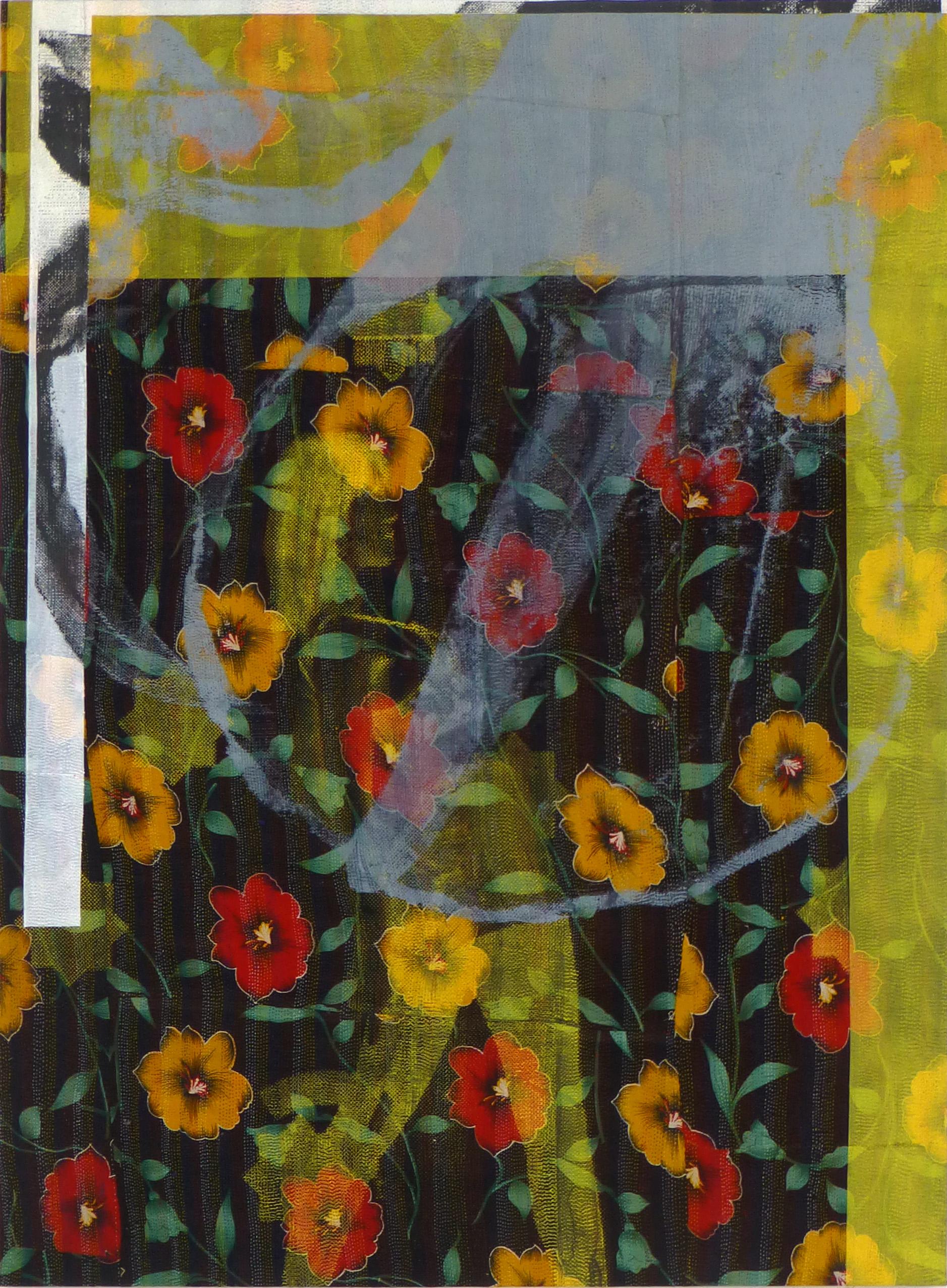 Shezad Dawood   Burning Moon , 2012 Acrylic on Vintage textile 61.81 x 45.67 inches 157 x 116 cm