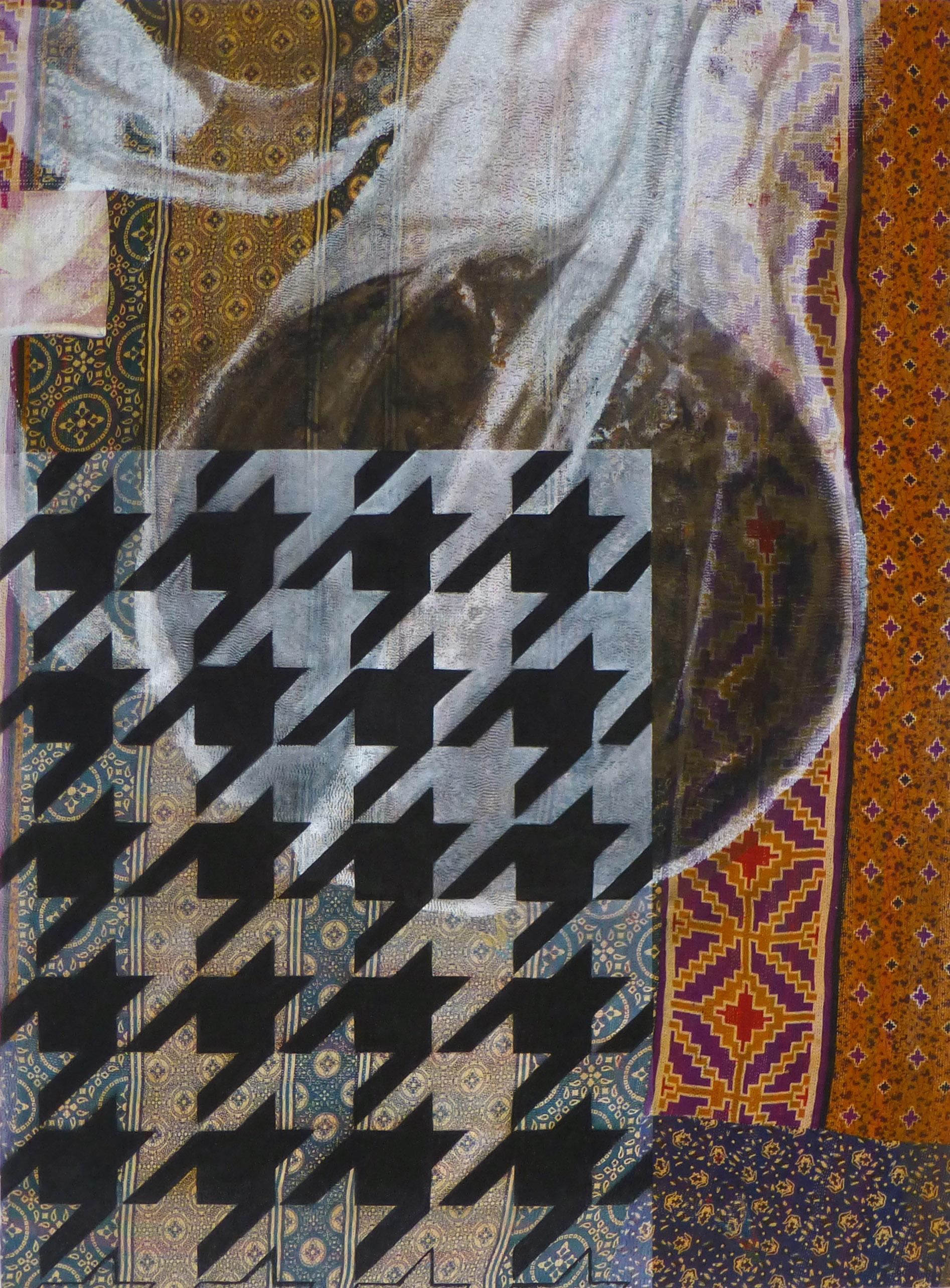 Shezad Dawood   Burning Sun , 2012 Acrylic on Vintage textile 61.81 x 45.67 inches 157 x 116 cm