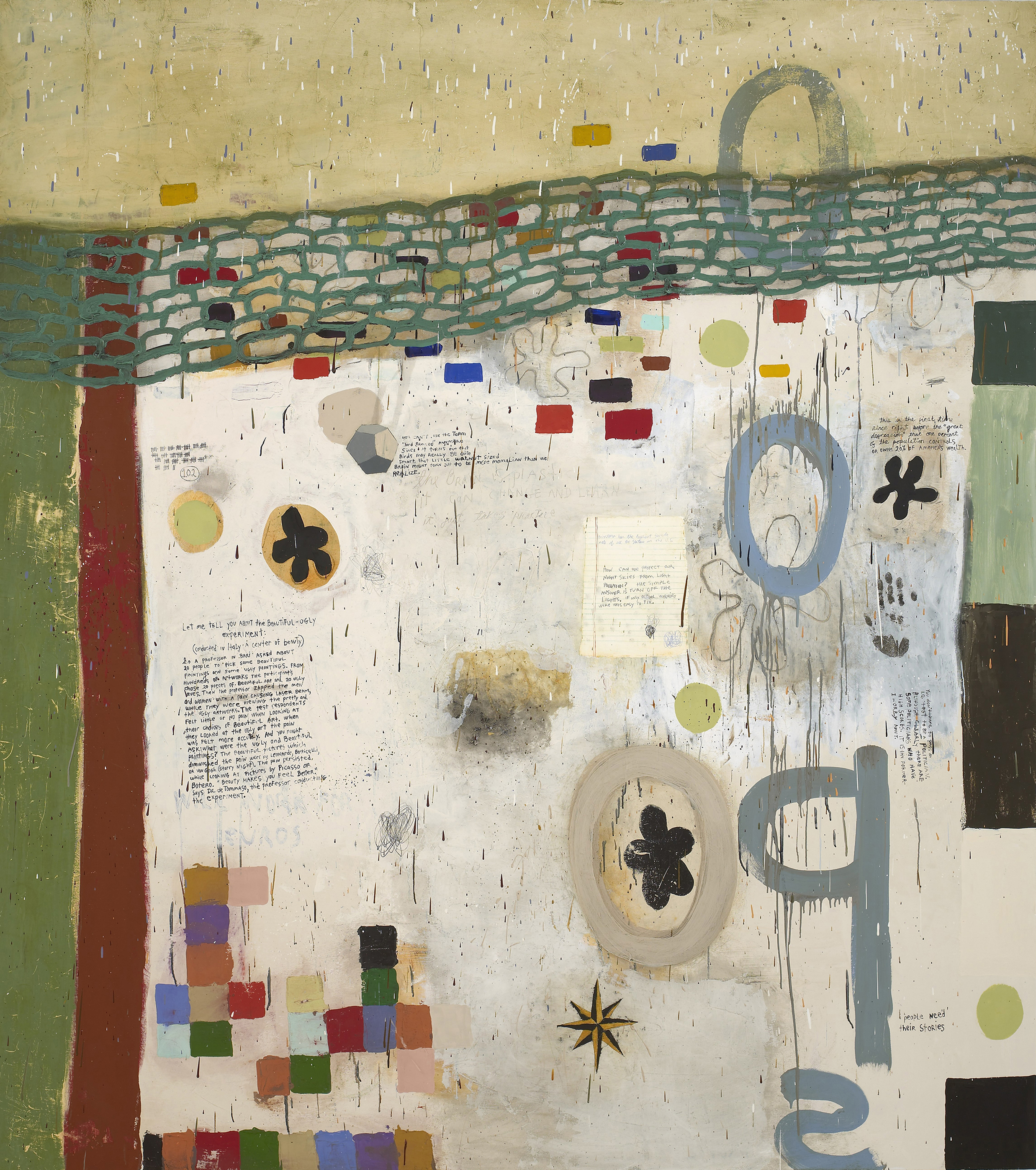Squeak Carnwath   Beautiful Ugly , 2008 oil and alkyd on canvas over panel 90 x 80 inches 228.6 x 203.2 cm
