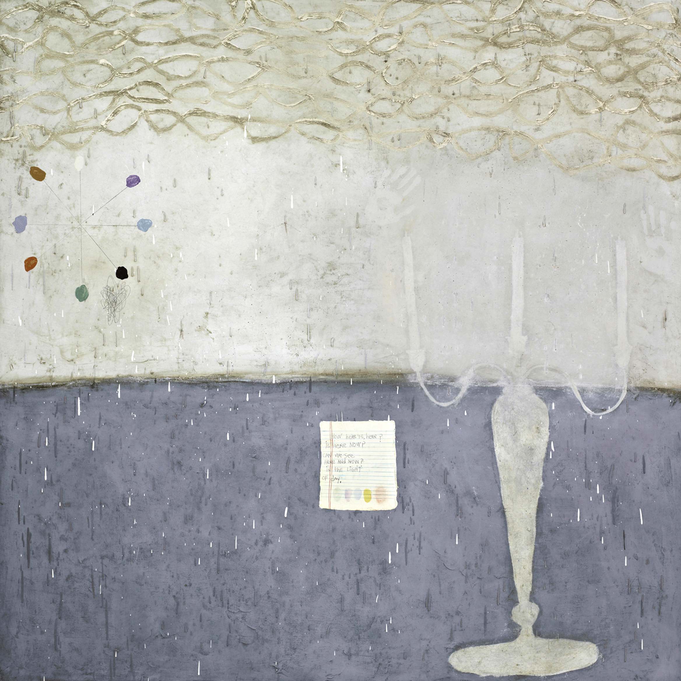 Squeak Carnwath   Here is Here , 2011 oil and alkyd on canvas over panel 70 x 70 inches 177.8 x 177.8 cm