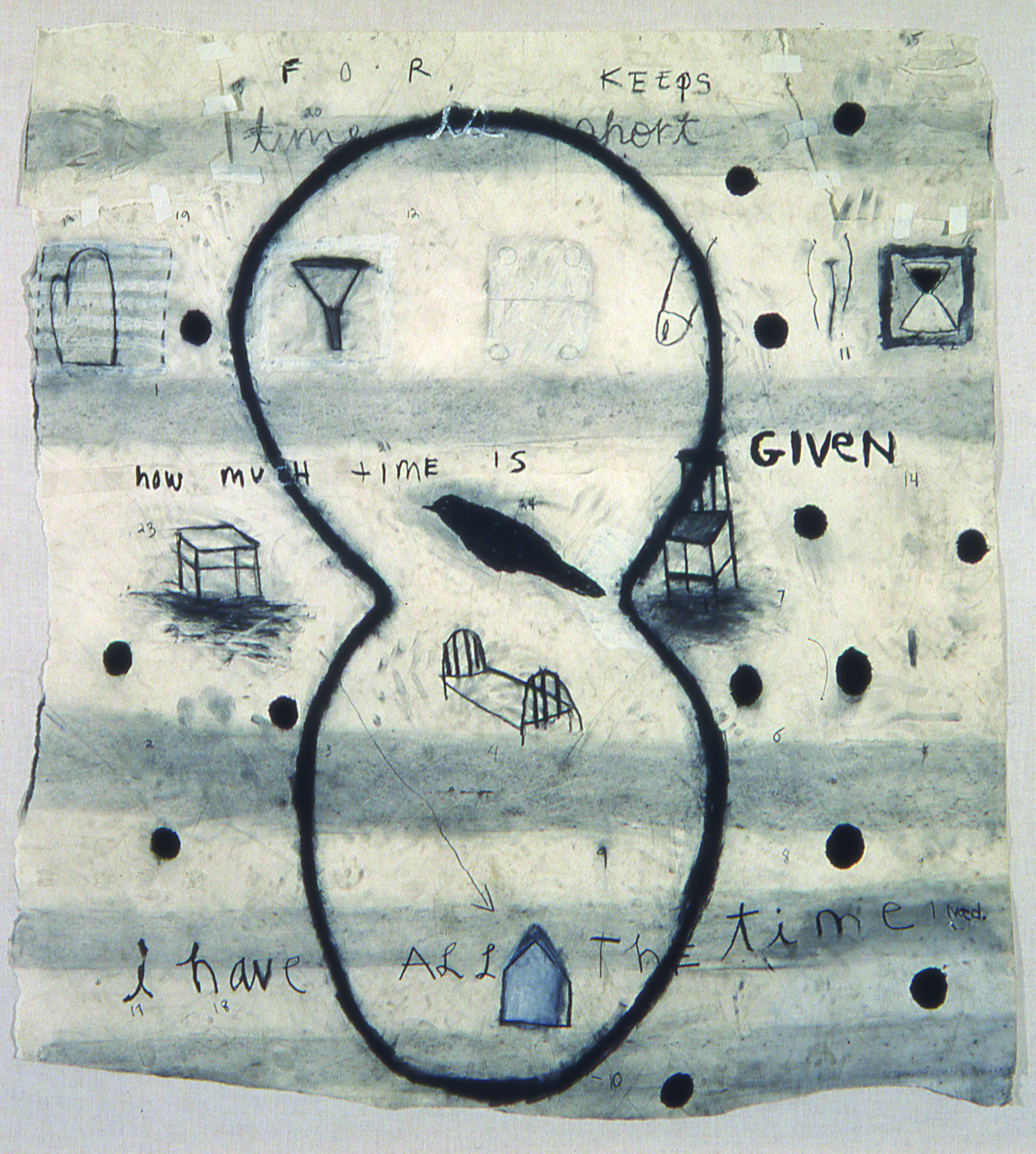 Squeak Carnwath   Hours , 1990 dog tracks, charcoal, graphite, paint stick, acrylic on paper 64 x 61 inches 162.6 x 154.9 cm