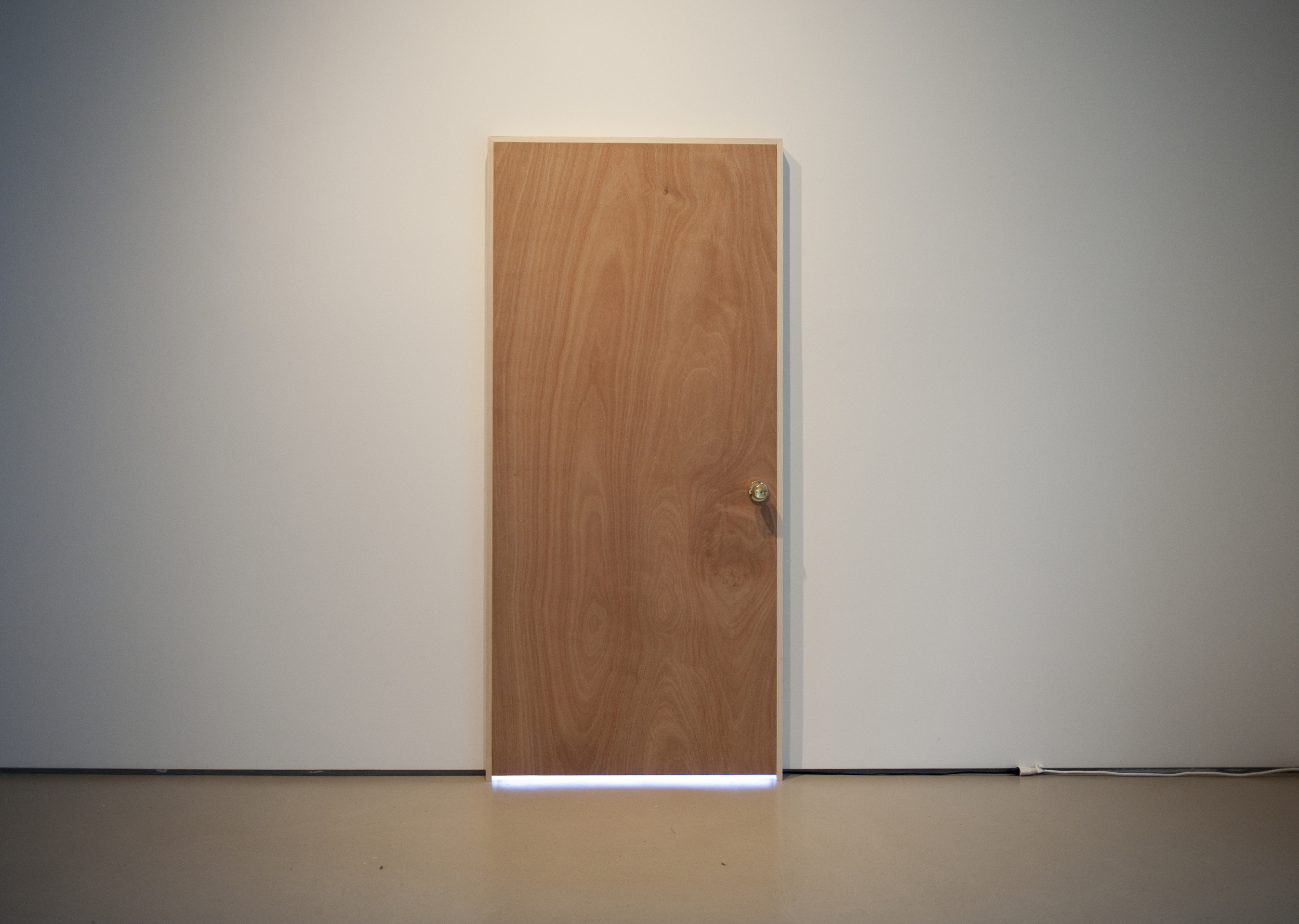 Nobody's Home,  2016 wood door, LED lights, microcontroller