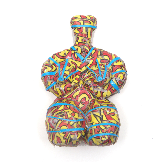 Michael Rakowitz   May The Obdurate Foe Not Stay in Good Health - Terracotta female figurine, Halaf , 2016 Syrian and other Middle Eastern packaging and newspapers, glue 8.8 cm tall Courtesy of the artist and Jane Lombard Gallery, NY