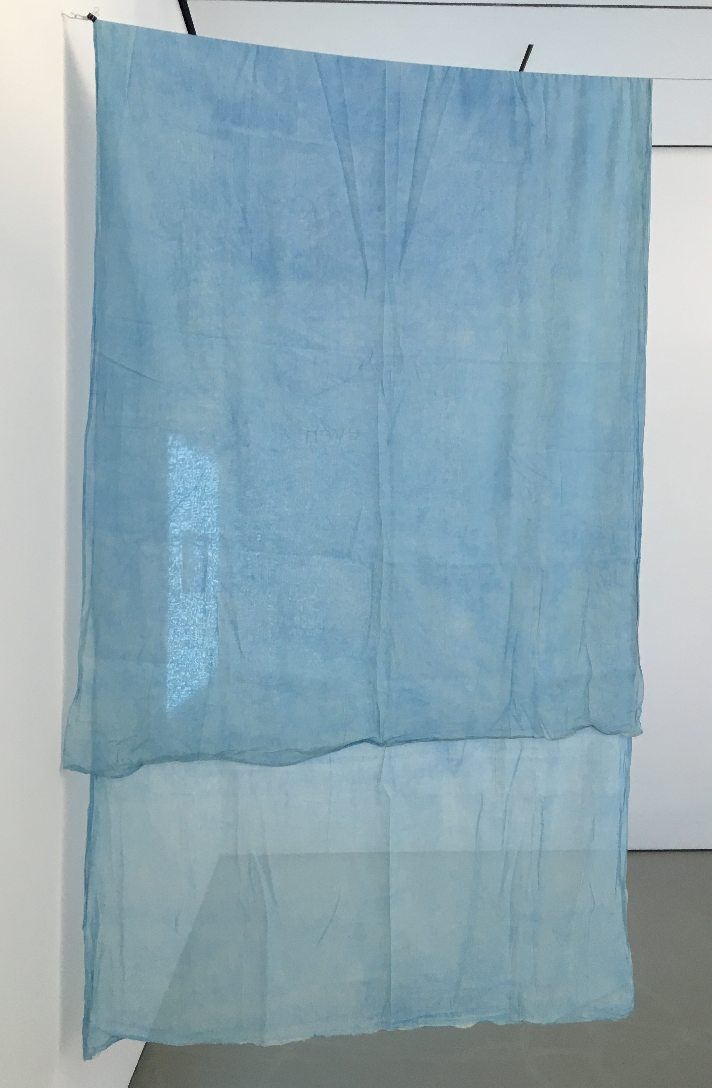 Lee Kit   We Try and Try, Even if it Lasts an Hour , 2011 4 hand painted window curtains, acrylic on fabric 157.48 x 58.66 inches 400 x 149 cm