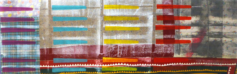 Shezad Dawood   GC003 , 2016 acrylic on vintage textile 29.72 x 94.09 inches 75.5 x 239 cm