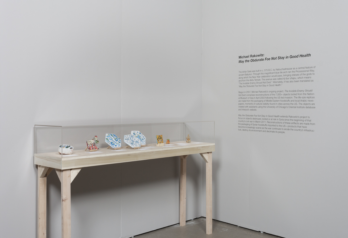 Michael Rakowitz  Installation view of  May the Obdurate Foe Not Stay in Good Health at Expo Chicago, September 2016 ourtesy of the artist and Jane Lombard Gallery, NY Photo credit: Emily Henson