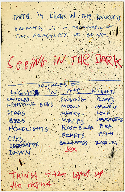 Untitled (Seeing in the Dark) , c. 1990. Felt tip pen, and oil splatters on paper. 8 1/2 x 5 1/2 in.