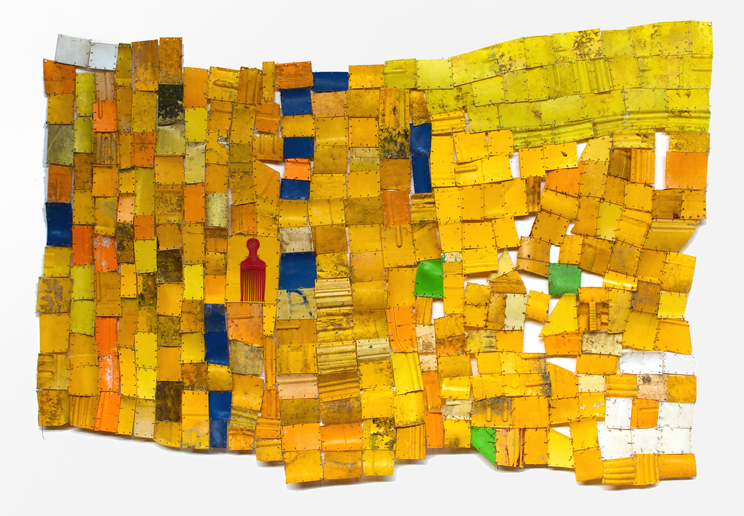 Serge Attukwei Clottey   Beauty and Presence , 2014 plastic and wires 75 x 51 inches 190.5 x 129.5 cm
