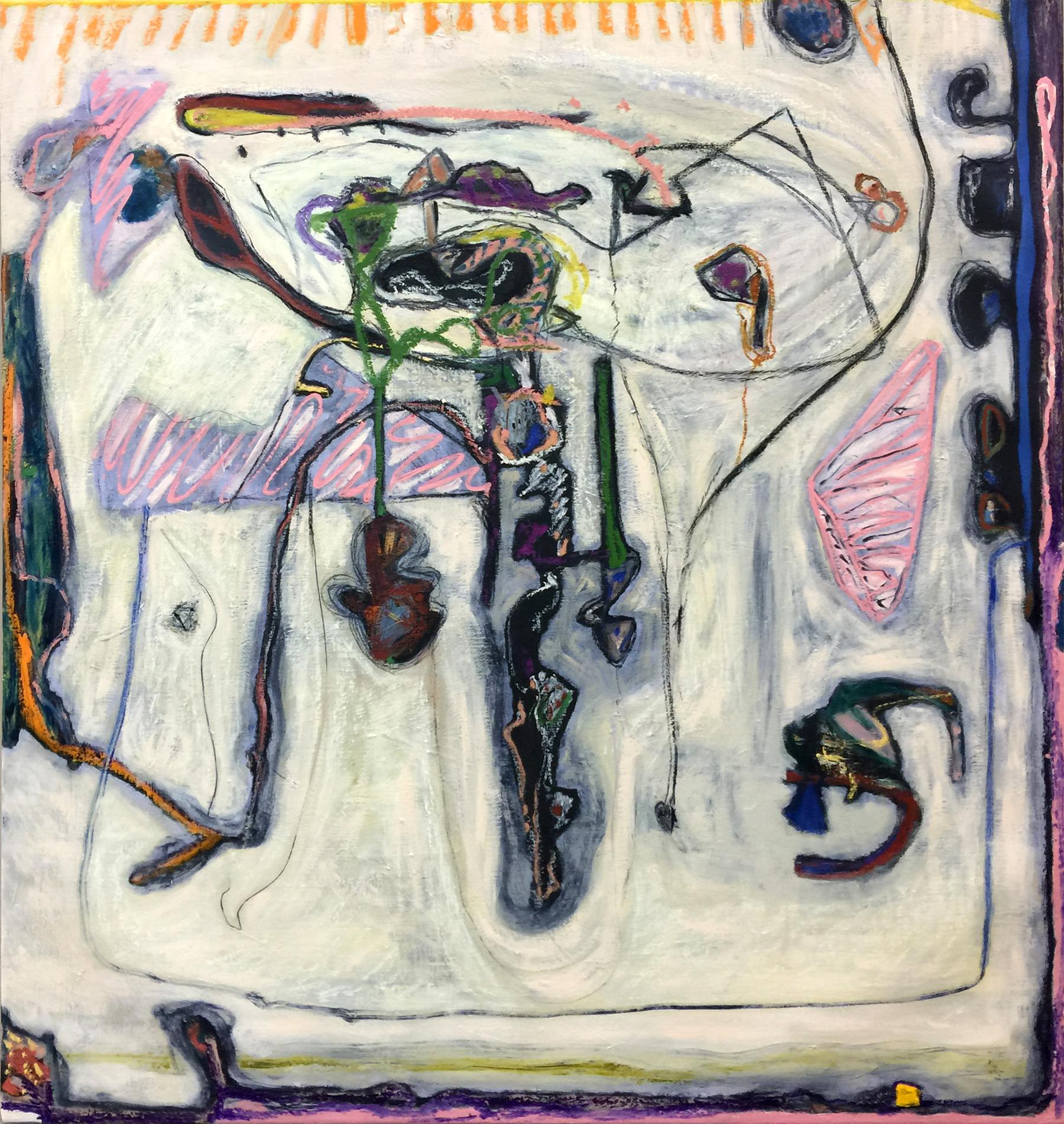 Sarah Dwyer,  Cattywampus , 2016, oil on linen, 55.91 x 51.97 inches, 142 x 132 cm