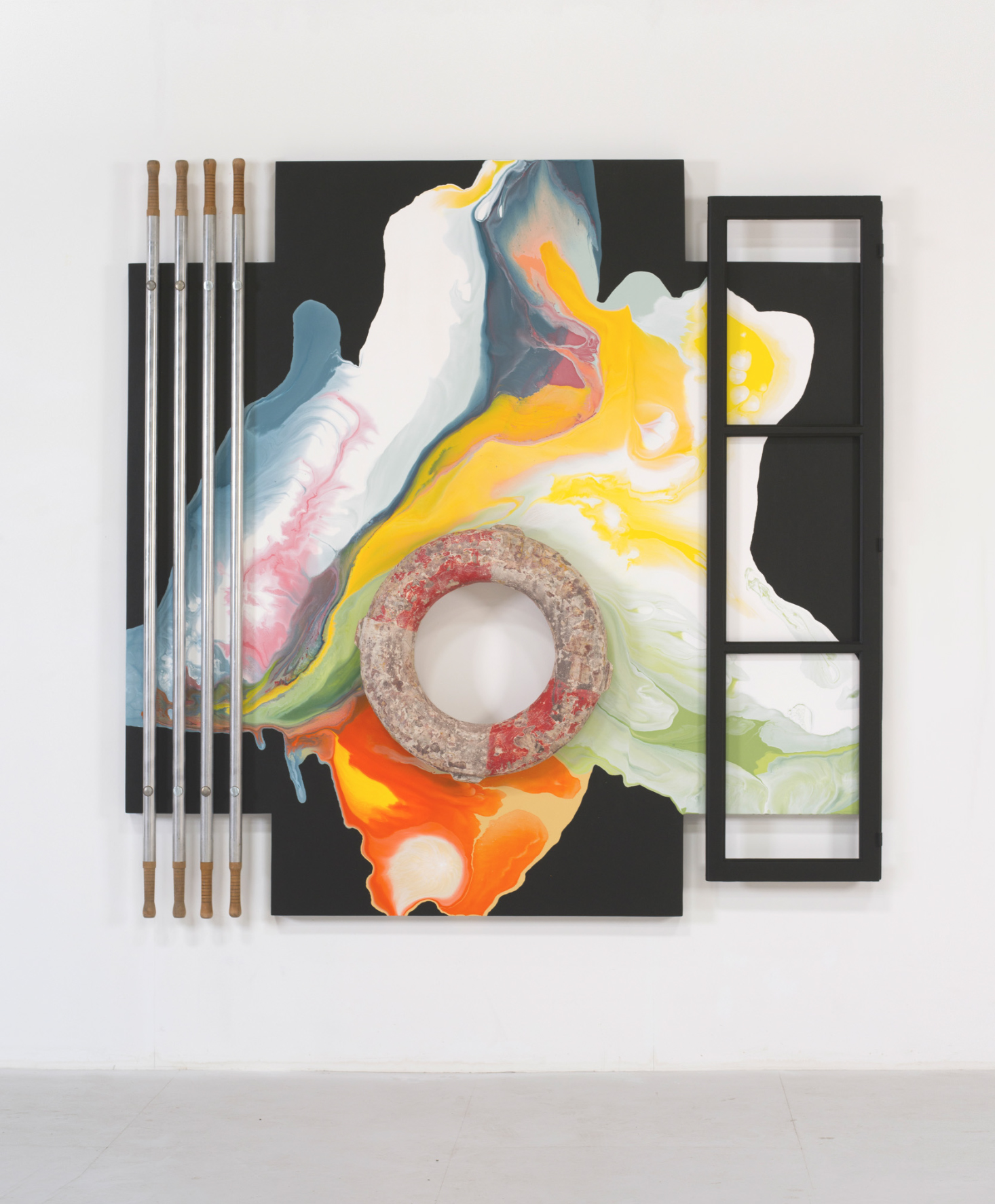 Lucy + Jorge Orta  Untitled, 2016 polyurethane, aluminum stretcher bars, life preserver and window frame on wood 90.55 x 90.55 inches 230 x 230 cm