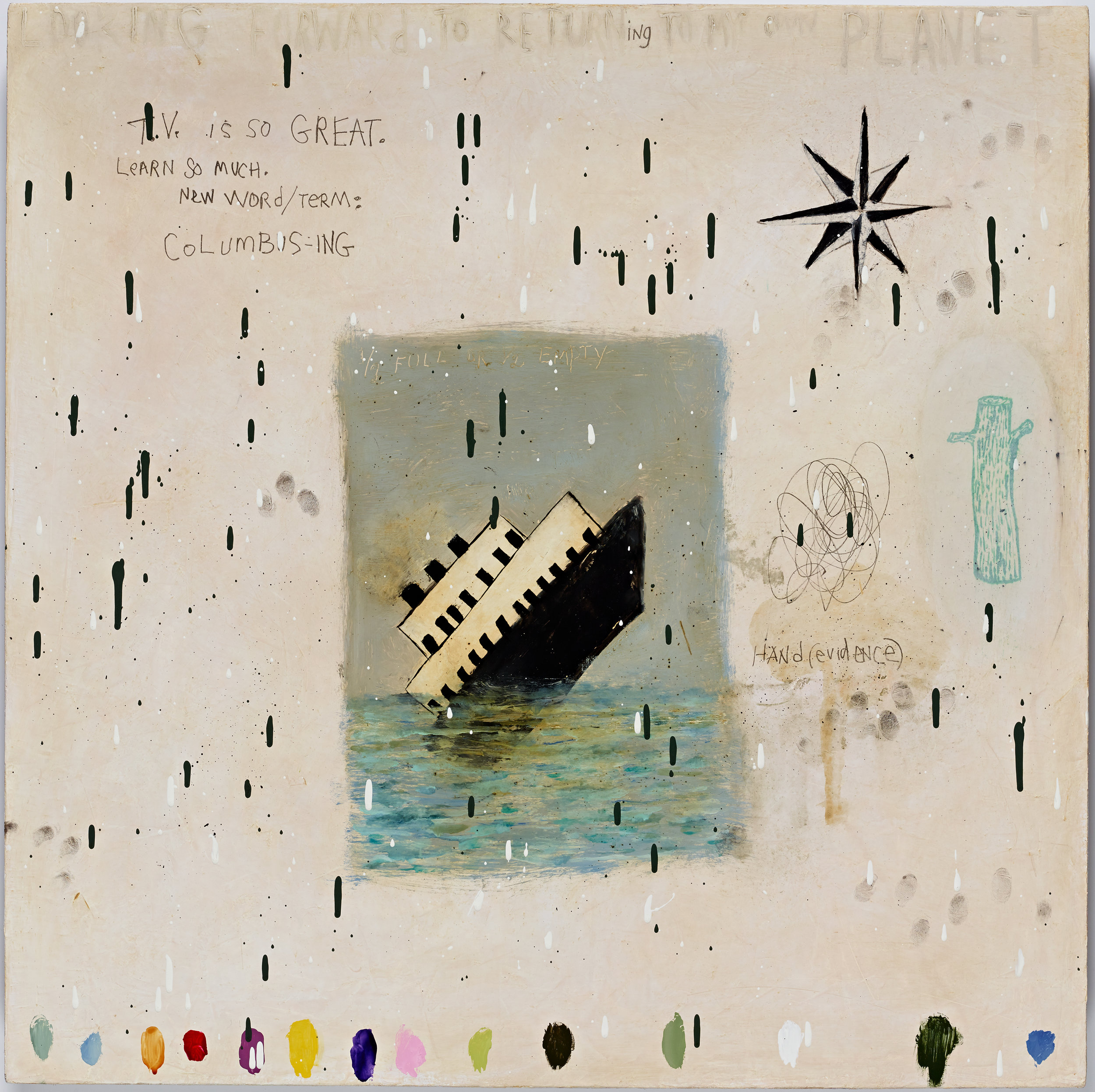 Squeak Carnwath   Planet , 2015 oil and alkyd on canvas over panel 30 x 30 inches 76.2 x 76.2 cm