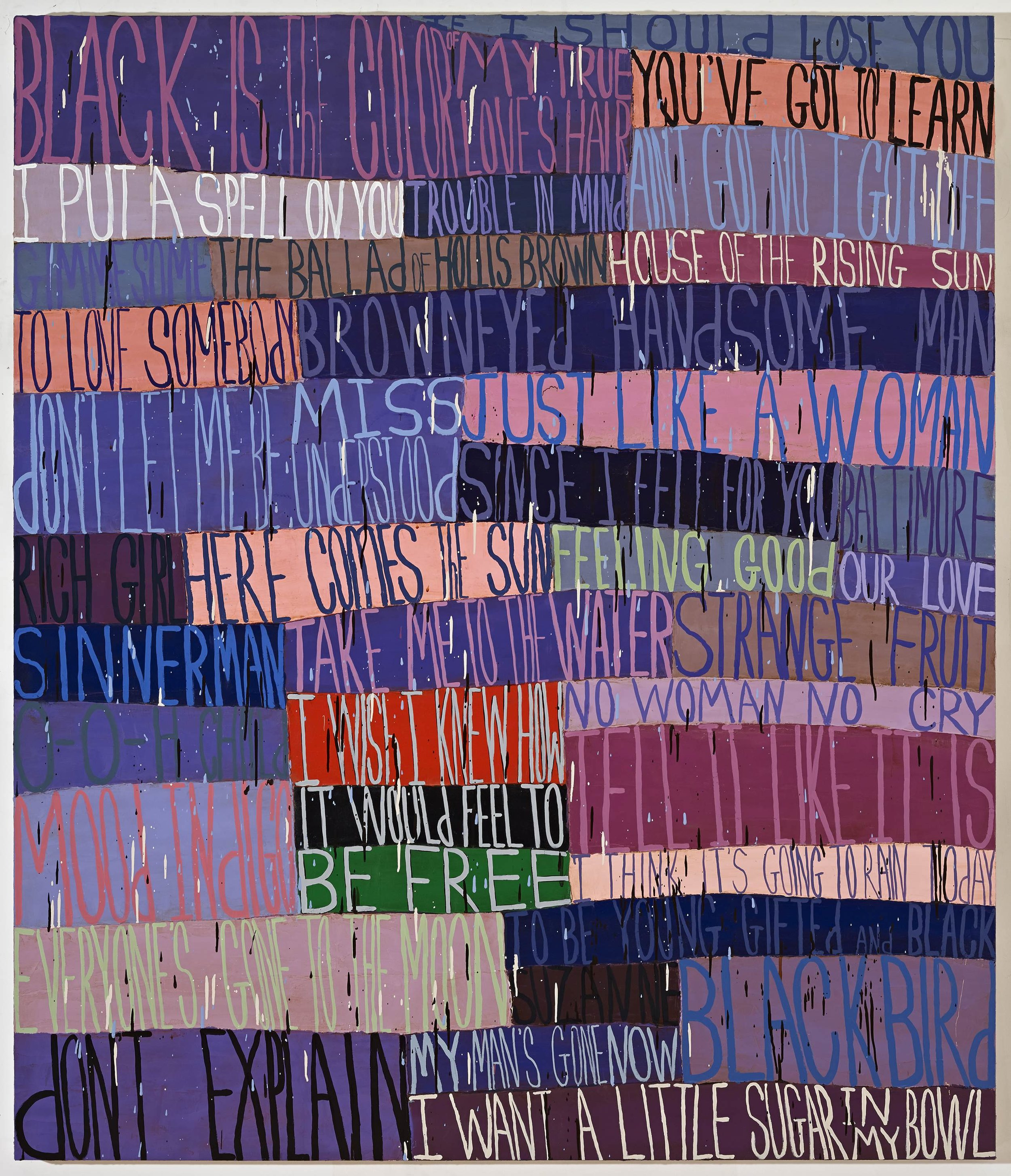 Squeak Carnwath   Nina , 2015 oil and alkyd on canvas over panel, iPod 70 x 60 inches 177.8 x 152.4 cm