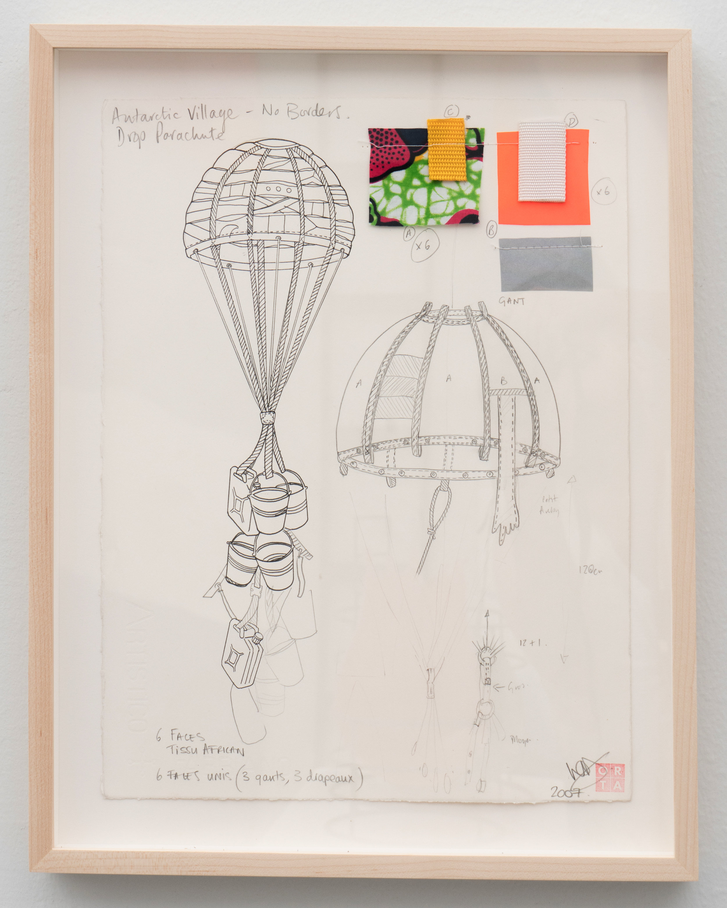 Lucy + Jorge Orta   Antarctica - Drop Parachute , 2008 Pencil, pigment ink, fabric samples on Fabriano paper  14.57 x 11.02 inches 37 x 28 cm