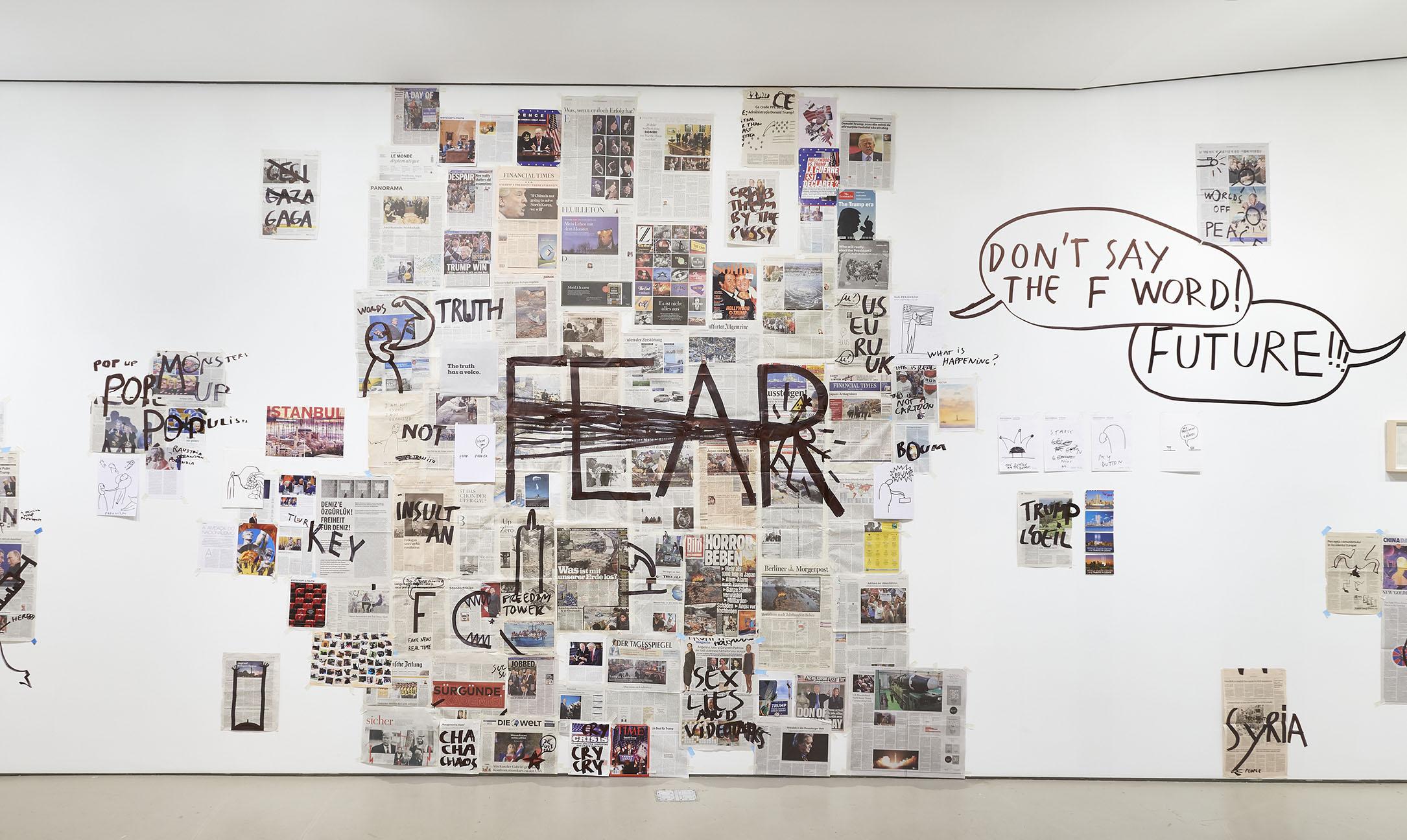 Dan Perjovschi   Fear,  2018 installation at Jane Lombard Gallery