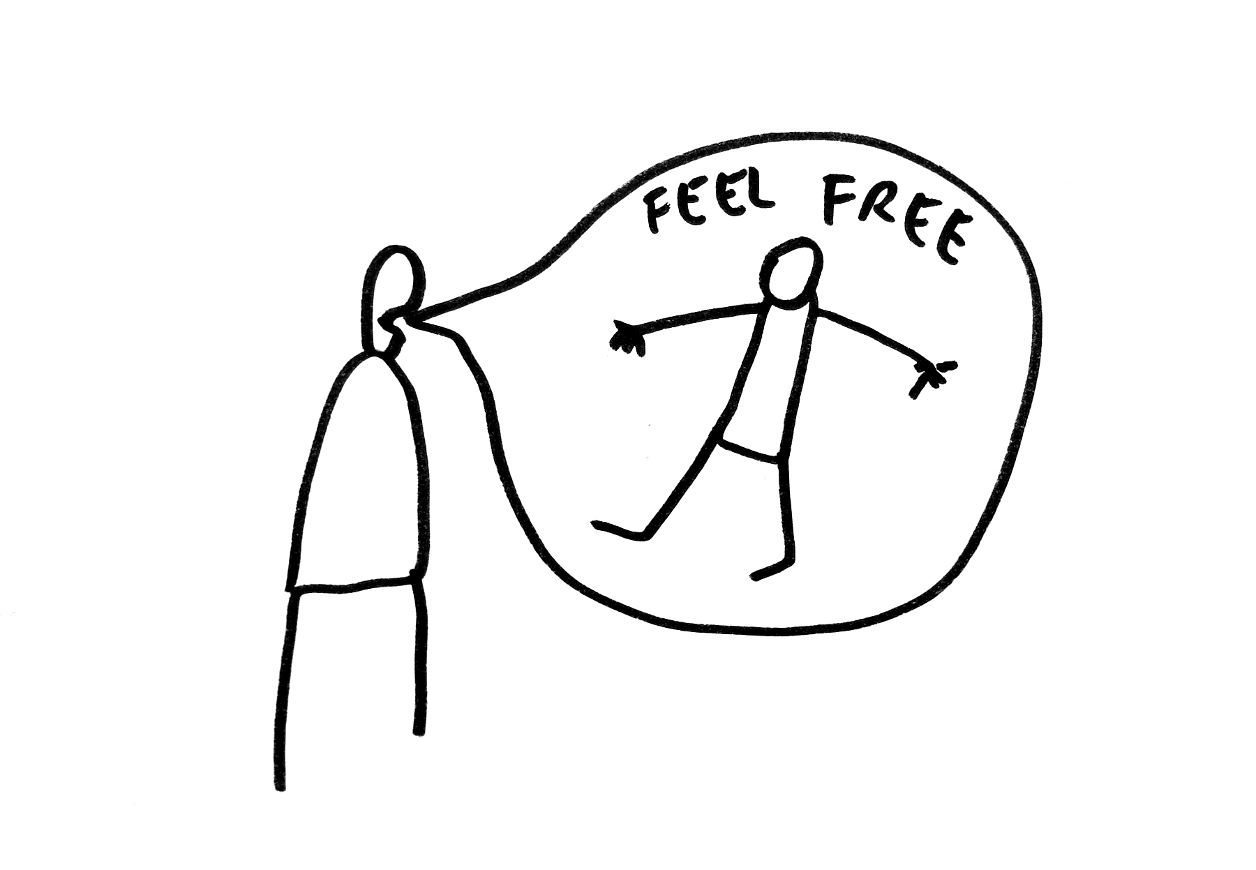 Dan Perjovschi   T Drawings (Feel Free) , 2016 Permanent marker on paper 8.25 x 11.5 inches 21 x 29.2 cm
