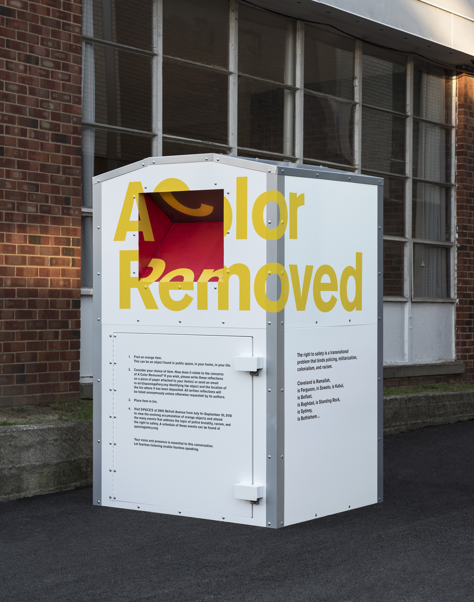 A Color Removed,   collection bins stationed around Cleveland, Ohio. Photo courtesy of FRONT.