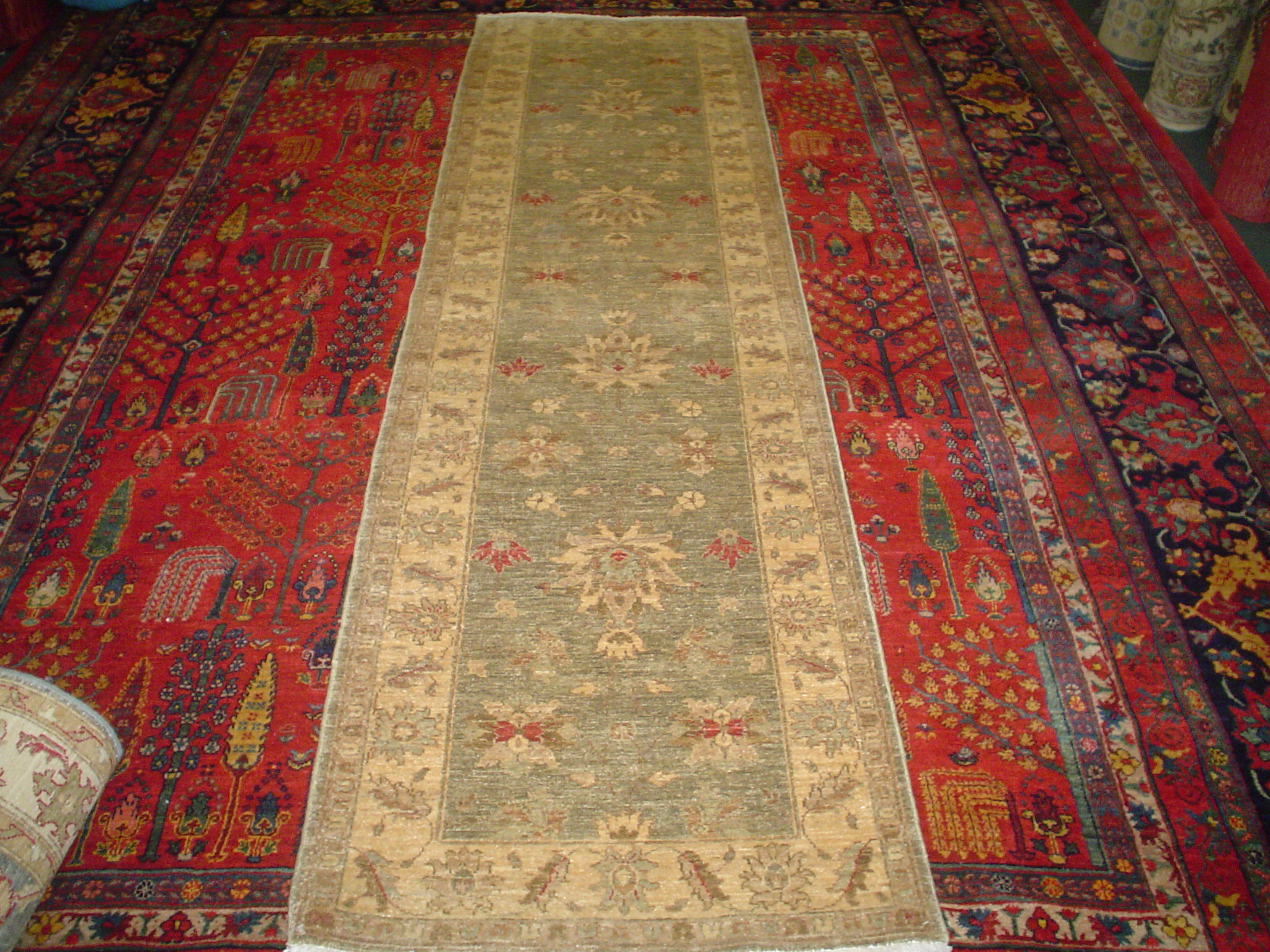 "#3) 2'7"" x 9'10"" Afghan Ushak runner in soft colors."