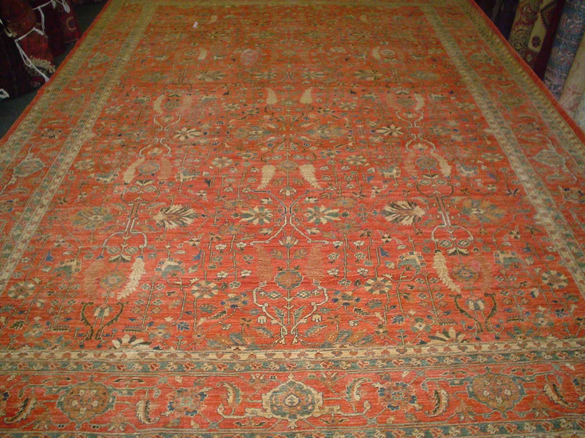 #9) Gorgeous 10 x 14 Sultanabad rug. Afghanistan. Salmon with soft blue-green accents in an overall design.