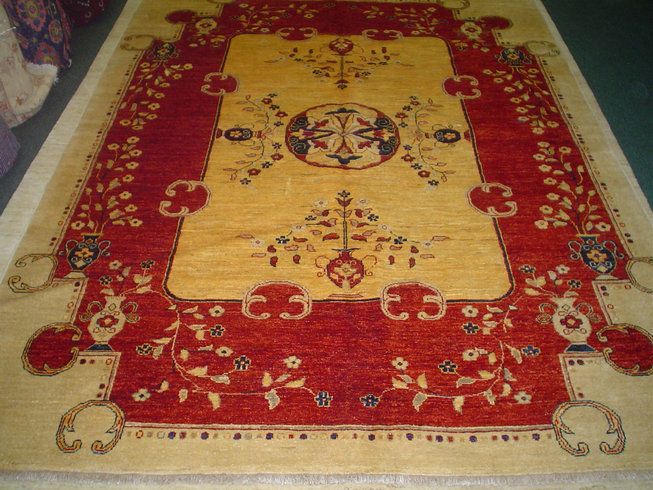 "#12) 6'5"" x 8'3"" East Turkestan design Afghan rug. Beautiful, sturdy rug."