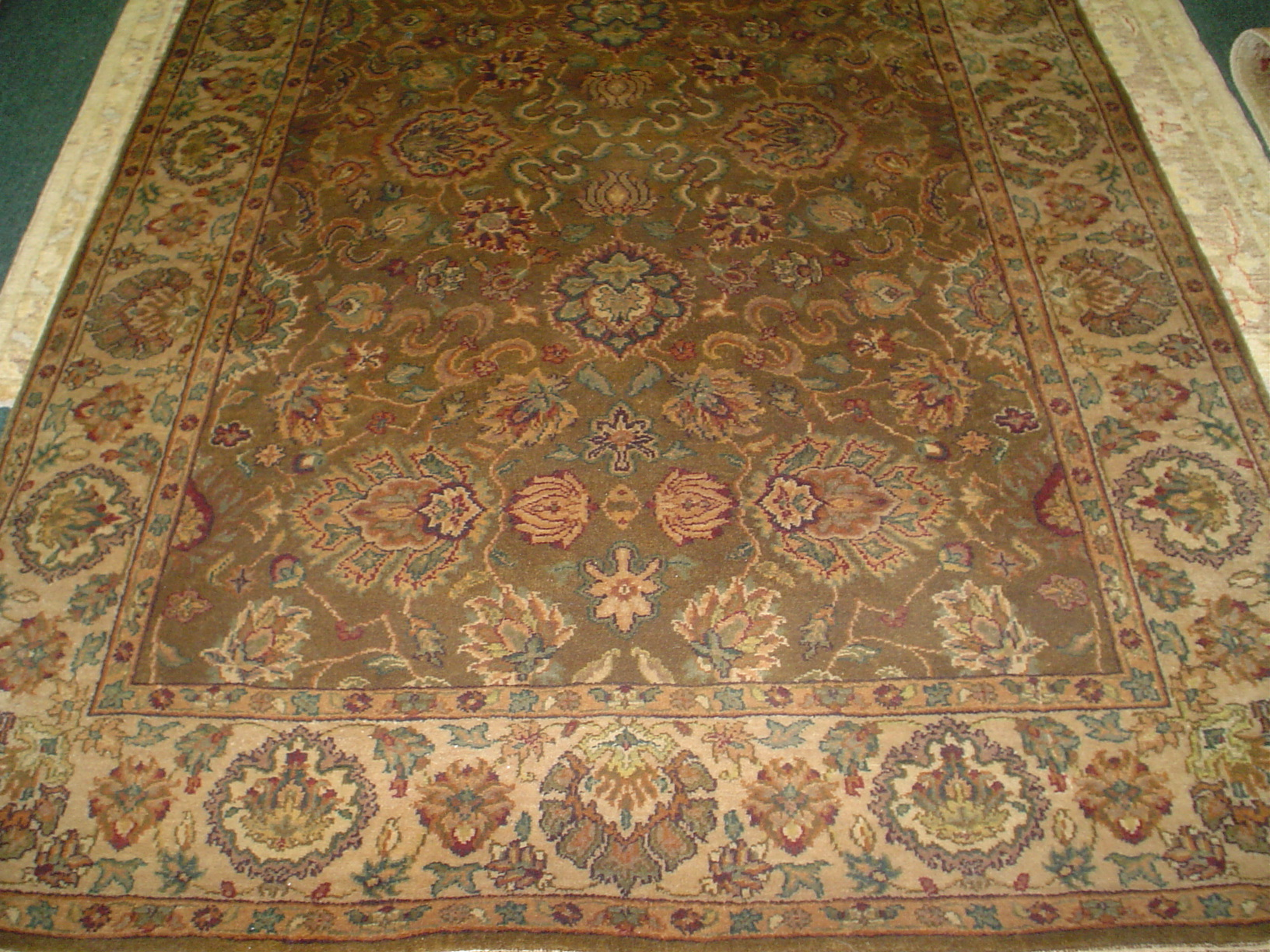 #2) 4' x 6' Agra, India. Soft muted colors in a detailed floral design.