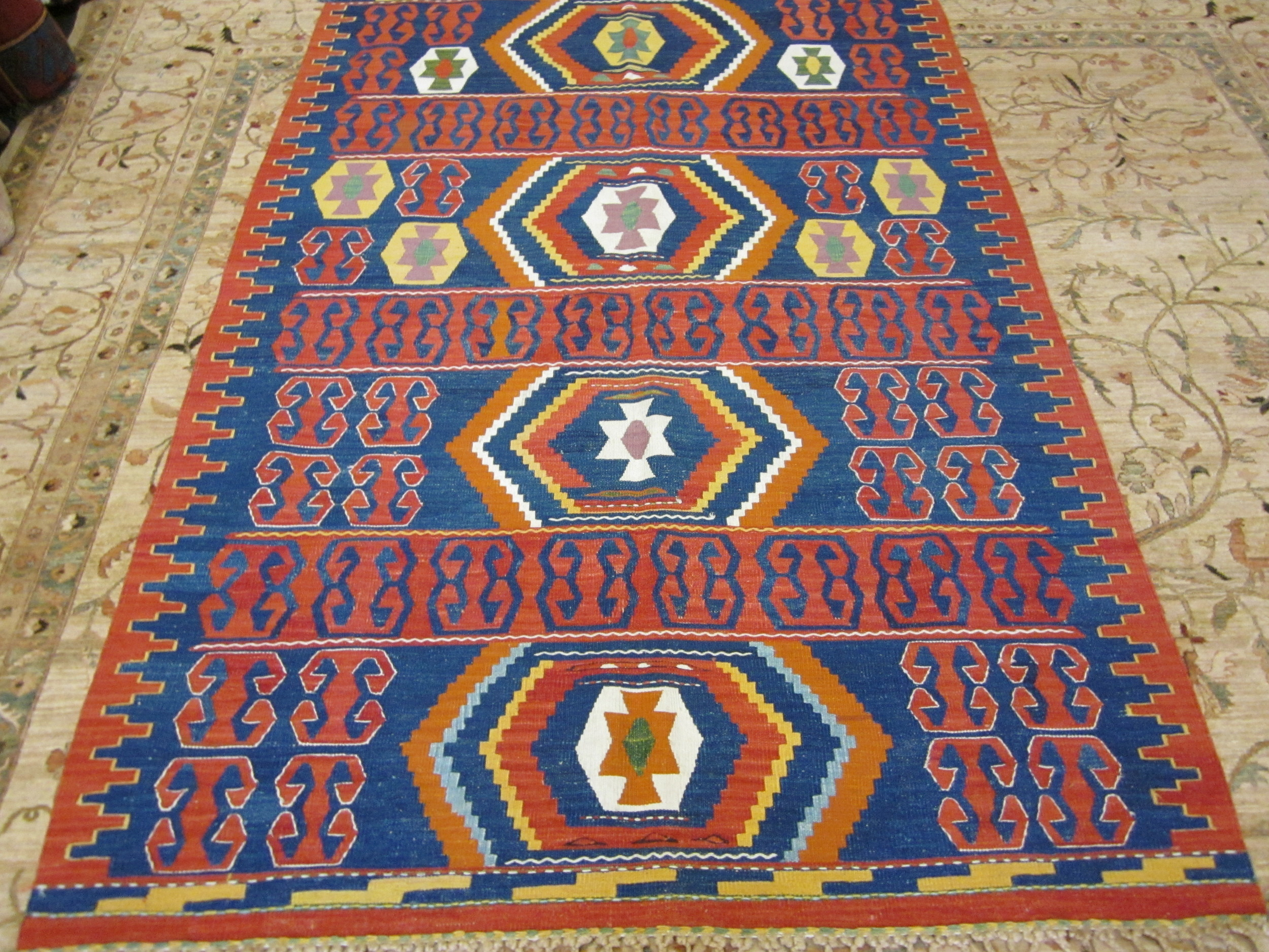 "#13) 4'4"" x 6'5"" Turkish kilim. Bright and cheerful with beautiful knotting on the fringe."