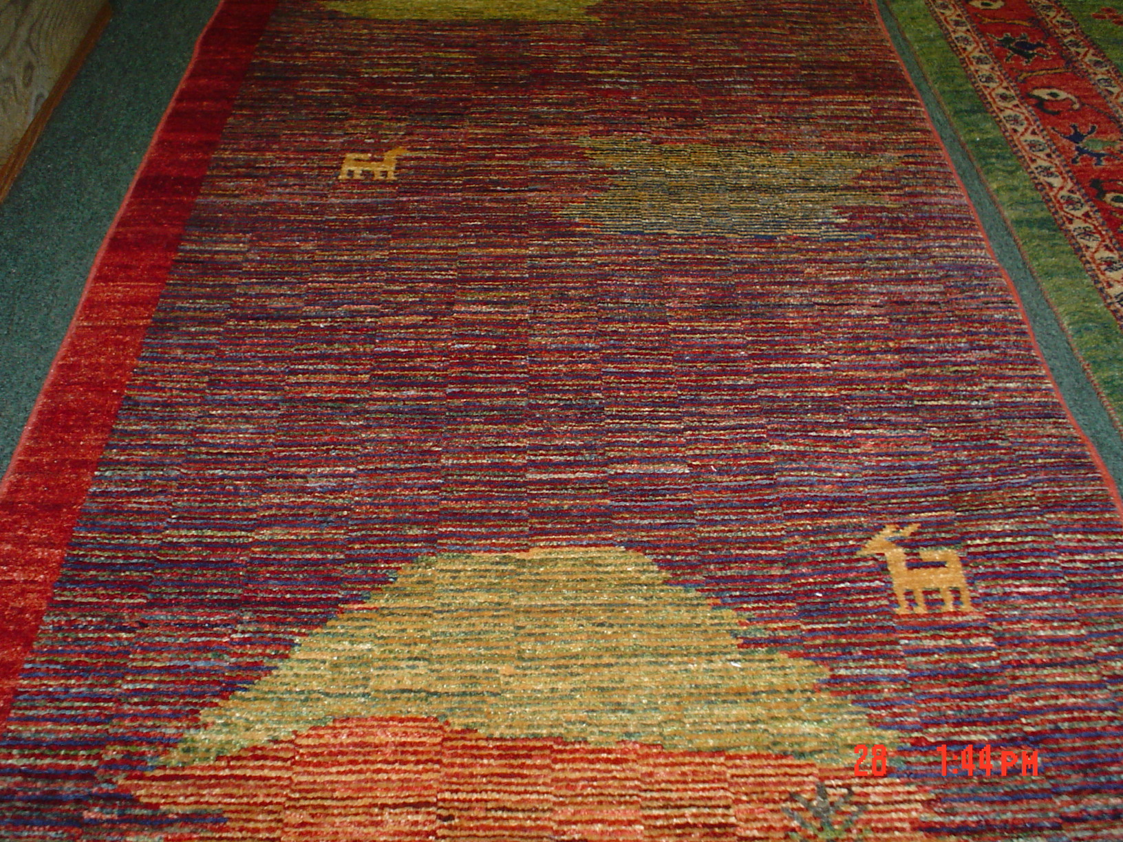 "#14b) Modern Afghan runner. 2'6 x 8"", woven with vegetable dyes and hand spun wool."
