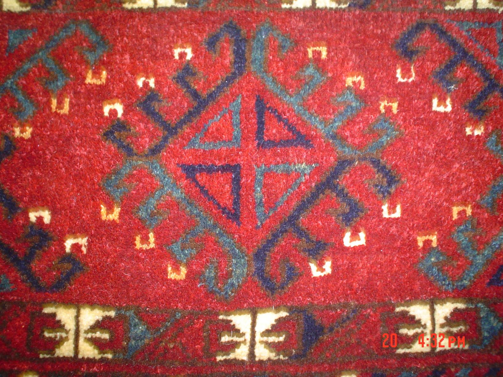 Close up. Persian Turkoman torba (storage bag)Khorasan province, Iran.