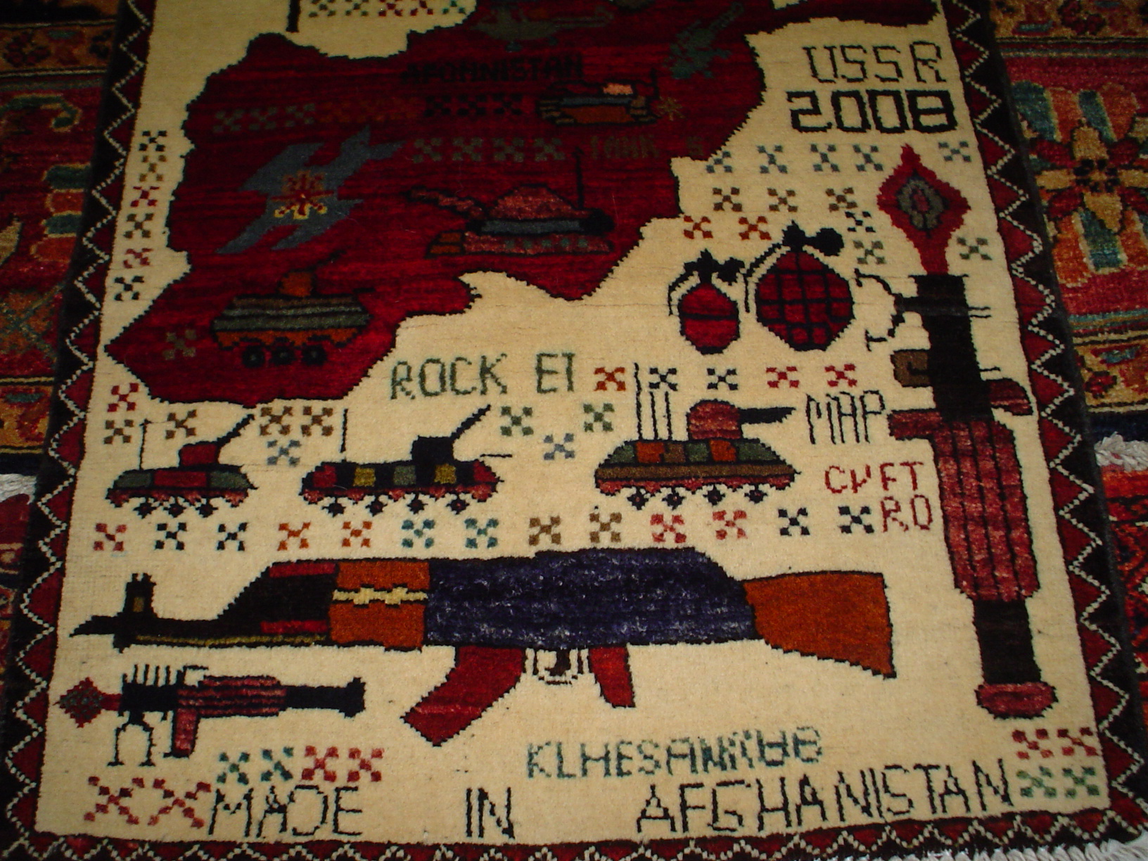 Very cool small war rug from Afghanistan.