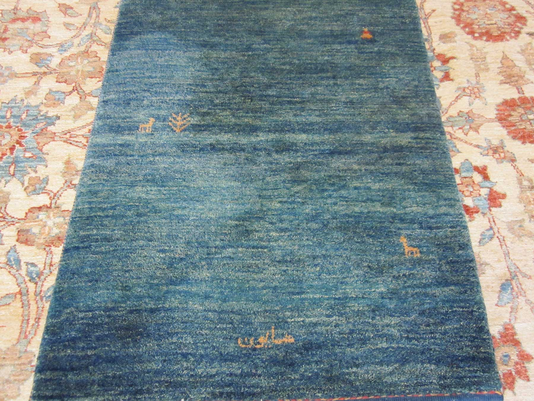 "2'8"" x 3'11"" Persian Gabbeh, woven with natural dyes and hand spun wool. Available. See gallery 4."