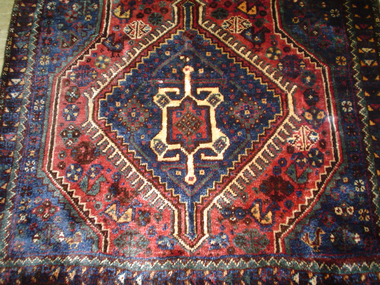"3'6"" x 3'1"" Qashqai old Persian tribal rug, with animals and chickens!"