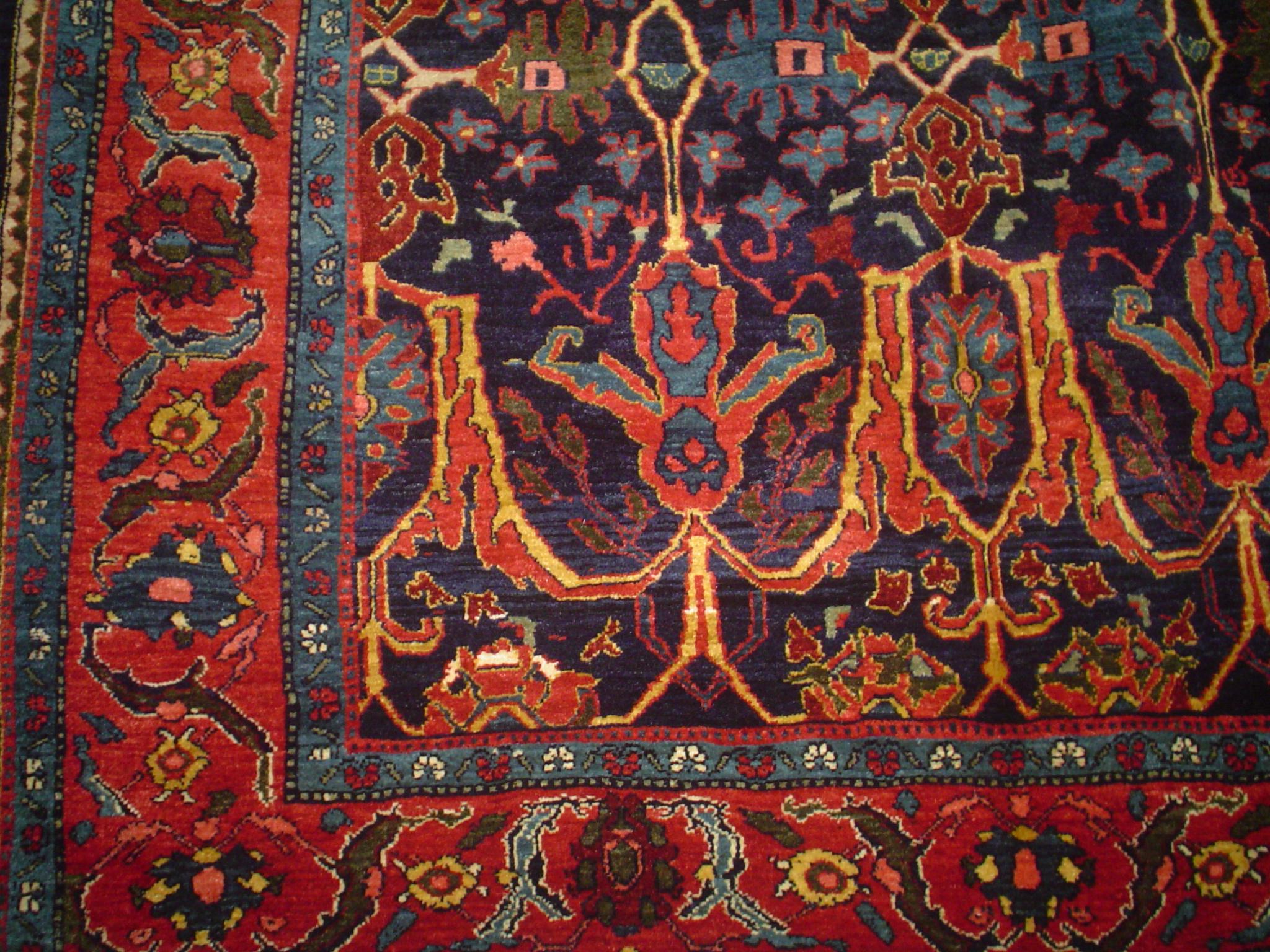 Exquisite Persian Bijar in jewel tones.