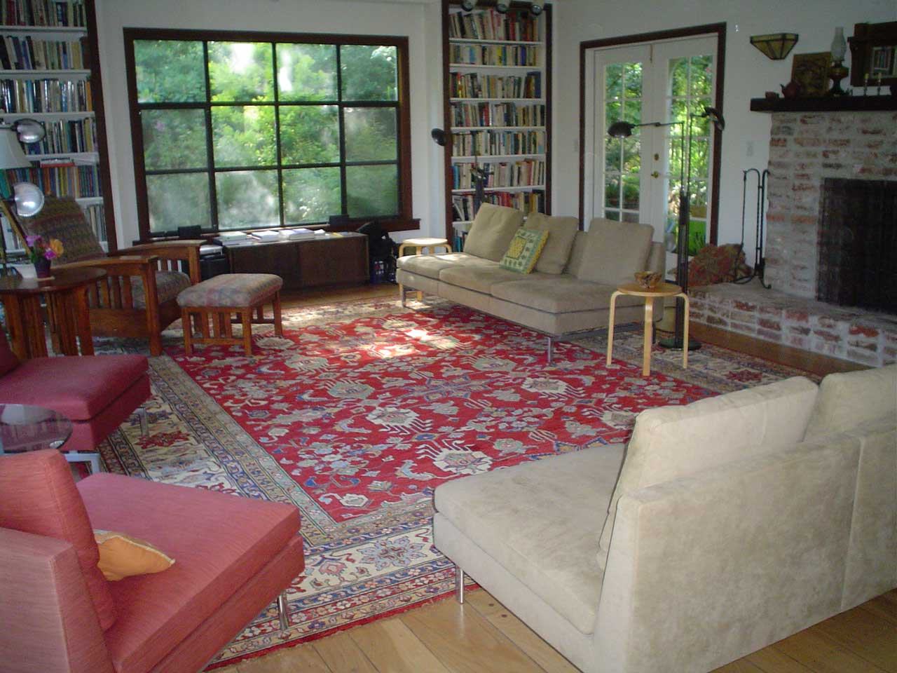 Tribal Kazak carpet with mid-Century furniture. 12 x 14 Kazak carpet, woven in Afghanistan.