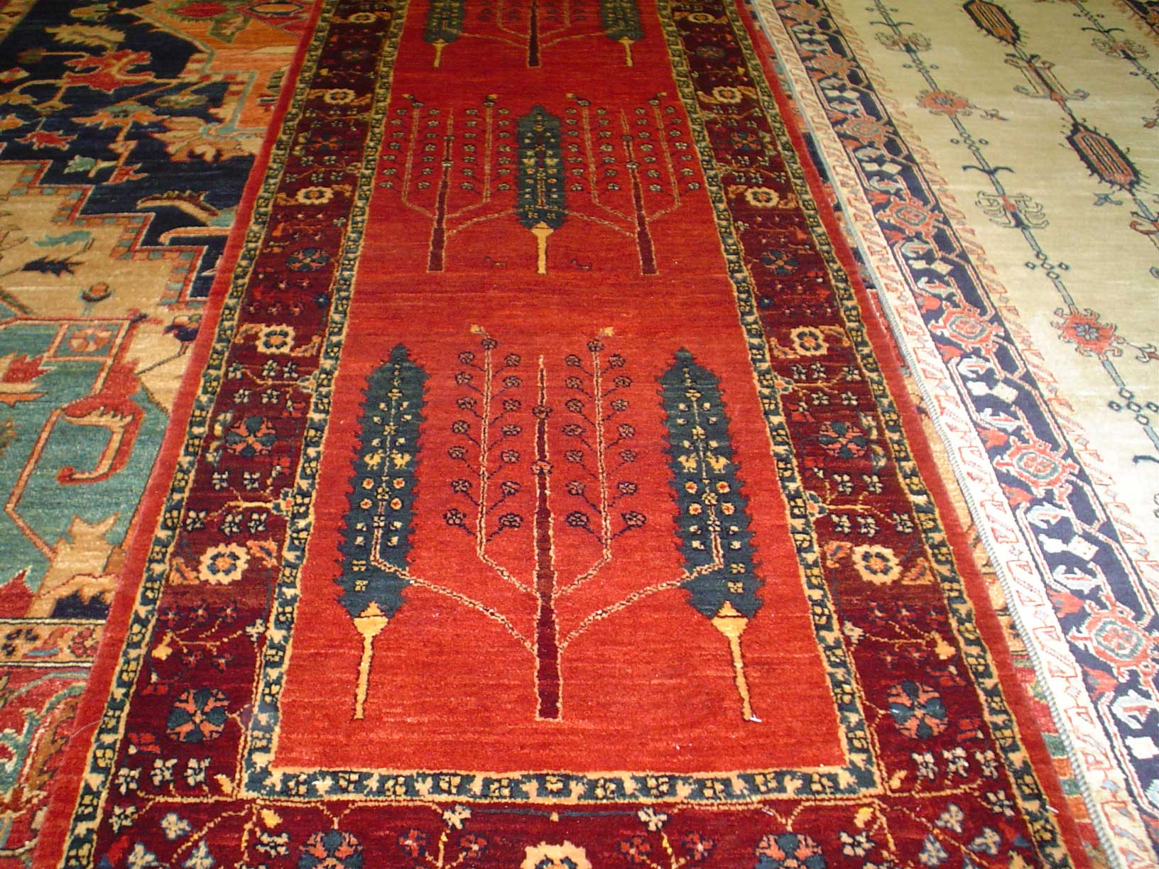 "2'7 x 12'3"" Luri runner with Cypress trees and a Tree of Life design. Sold."