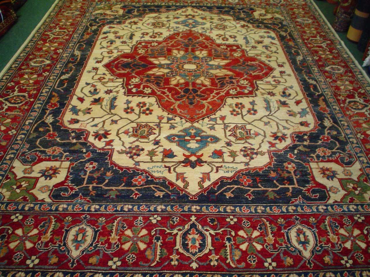 #28: 8 x 10 gorgeous Heriz rug. Afghanistan. Sold.