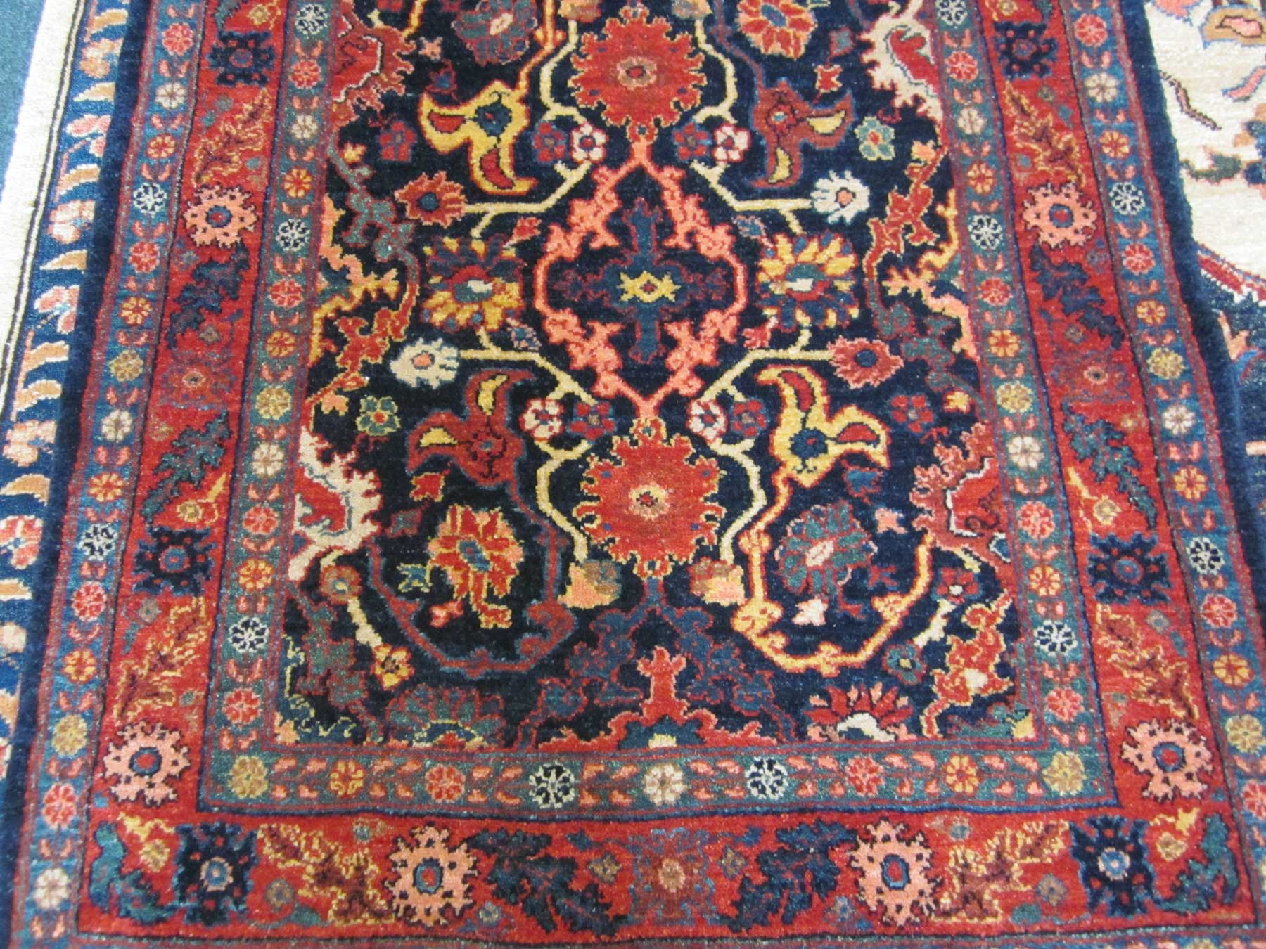 Bijar runner. Navy ground with deep madder red, golden yellow, light blue and ivory accents. Gorgeous runner woven in Bijar, Iran by Kurdish weavers!