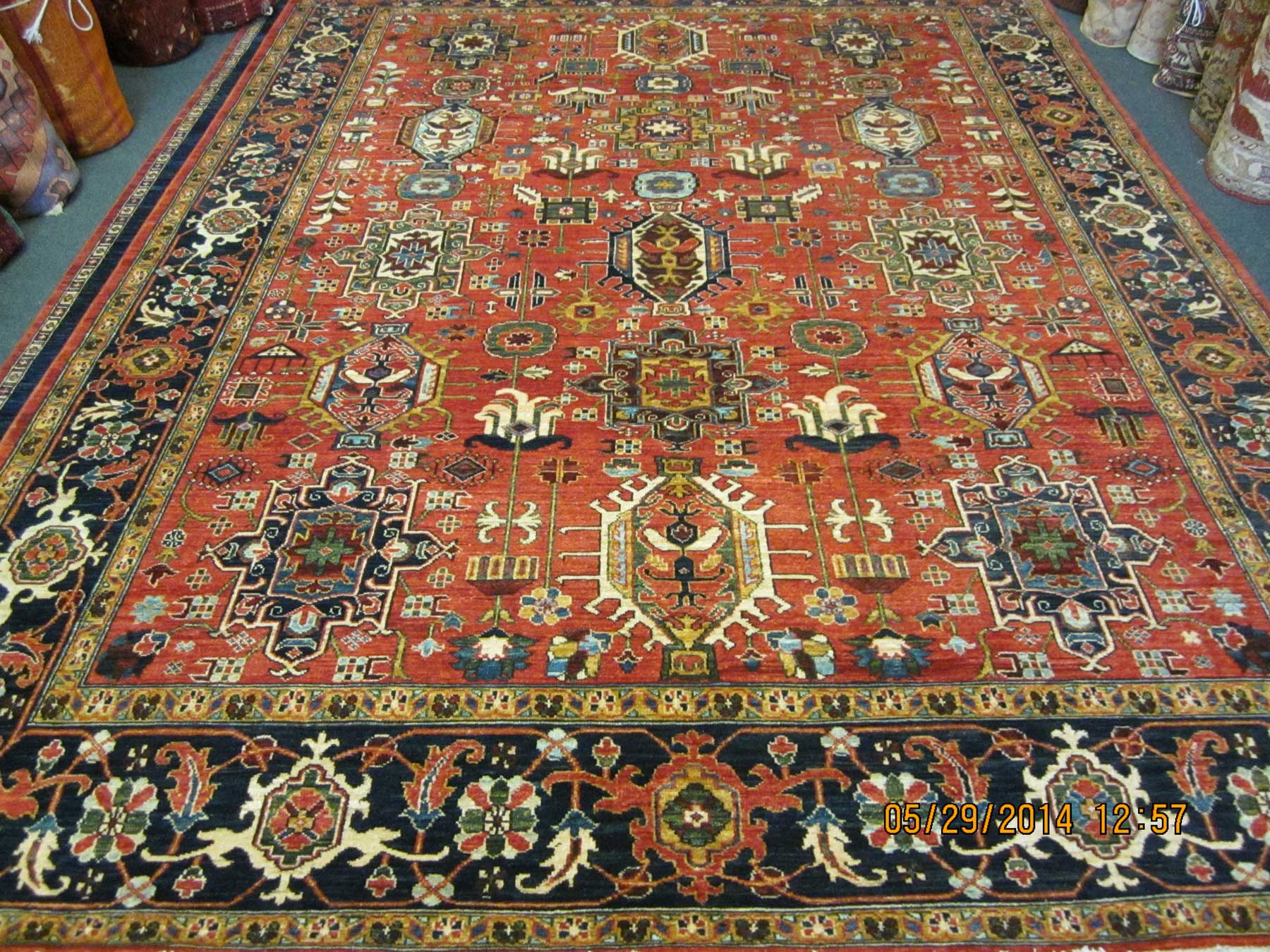 "7'10"" x 10'7"" Afghan rug. This design is called Karaja which is a small village in North West Iran."