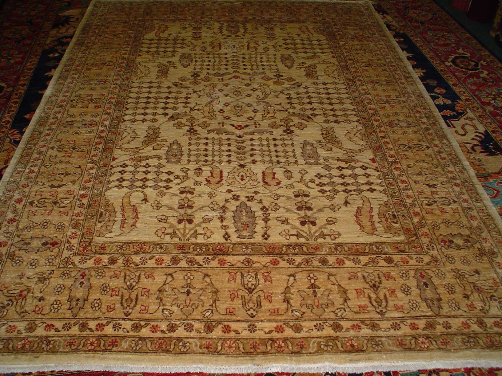 6 x 8 Ivory, beige overall floral rug with detailed design. Sold. New rug, antique design, woven in Afghanistan. Lovely rug!