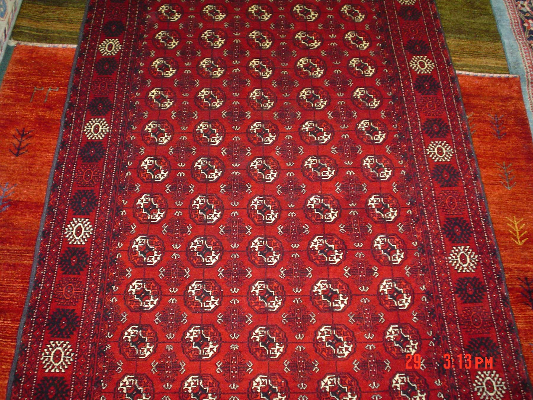 "#1) 3'8"" x 5'10"" Tekke Turkoman rug. Wool pile on a silk foundation."