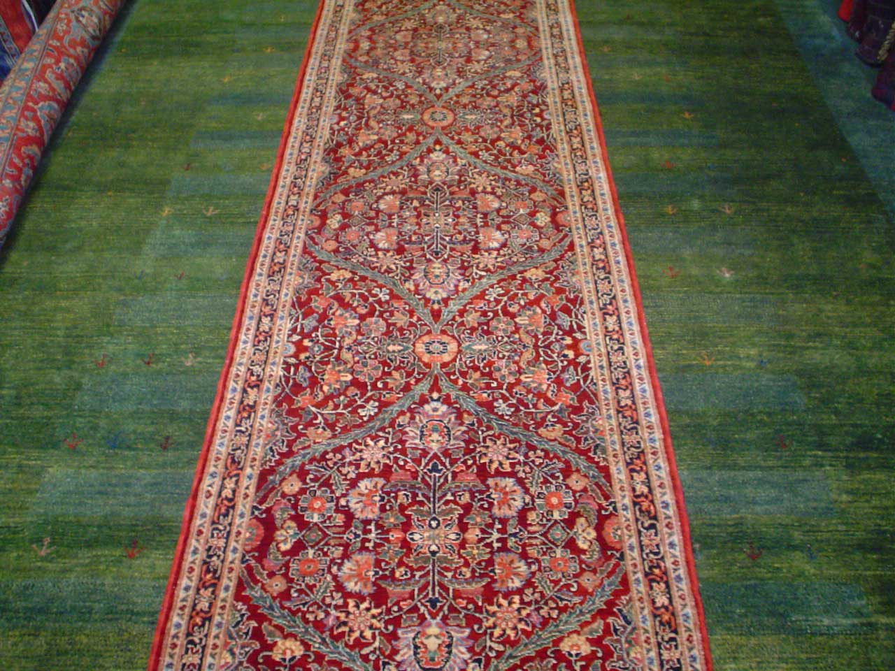 "#13) 3' x 9'9"" Gorgeous Afghan runner in an antique Mughal (India) design."