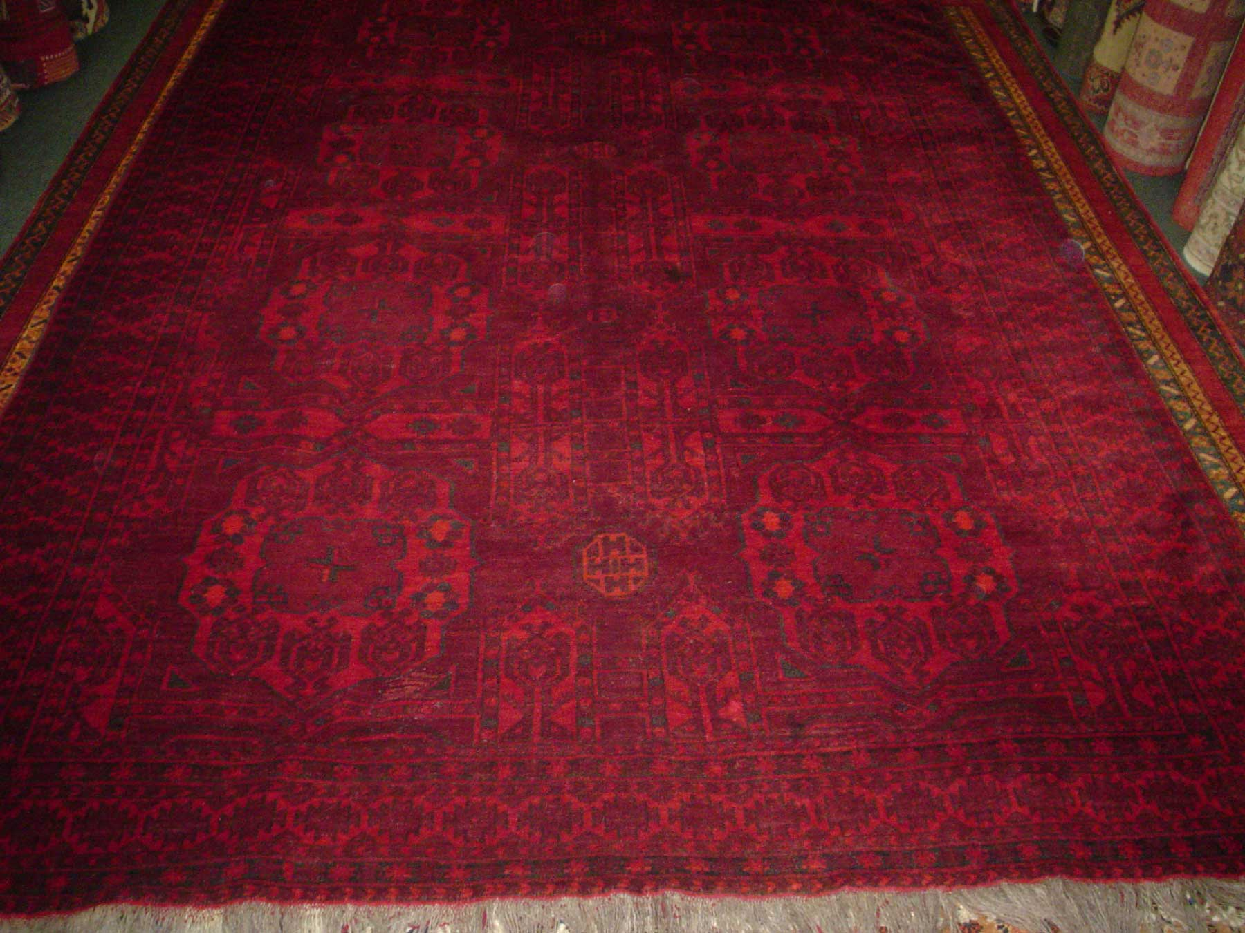 #14) 7' x 10' Semi-antique Turkoman rug. Deep, rich reds, hand spun wool.