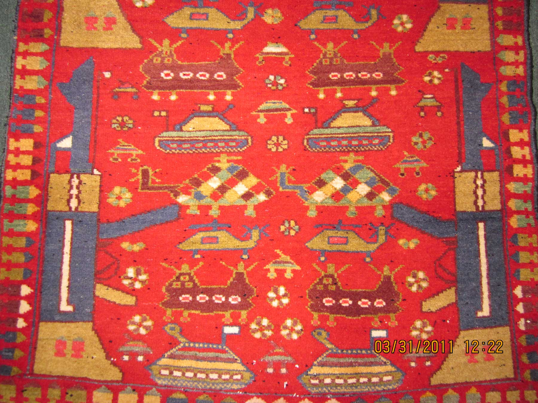 """#7) Afghan War Rug. 3'6"""" x 5"""" with AK-47's, tanks, bullets and helicopters!"""