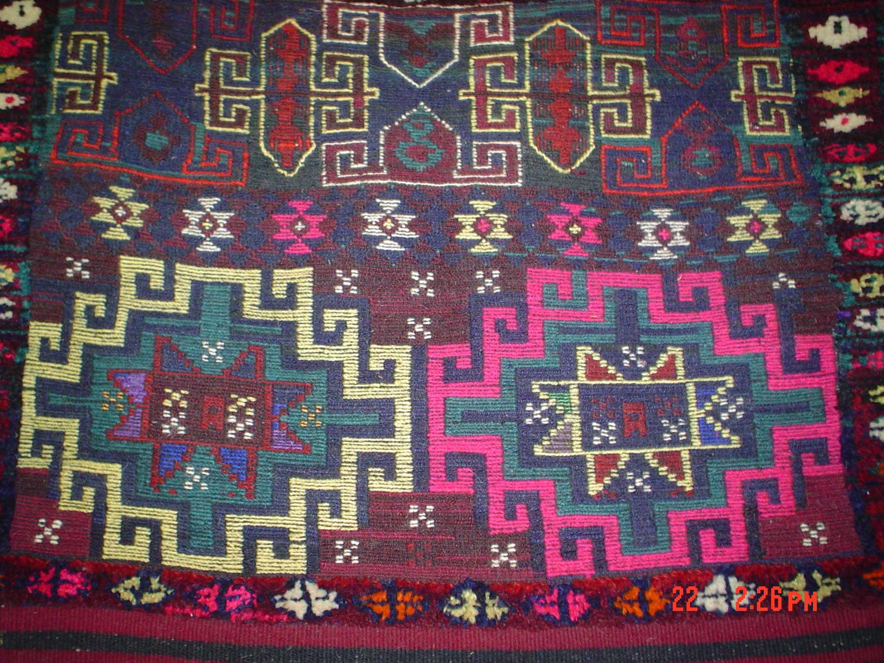 #22) Beautiful double saddle bag. Woven in Iraq.