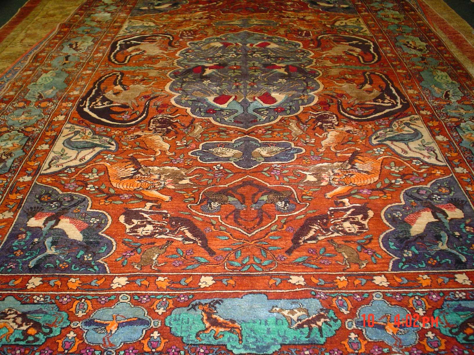 6 x 9 Silk Hunting Carpet, Circa 1970's, Afghanistan.