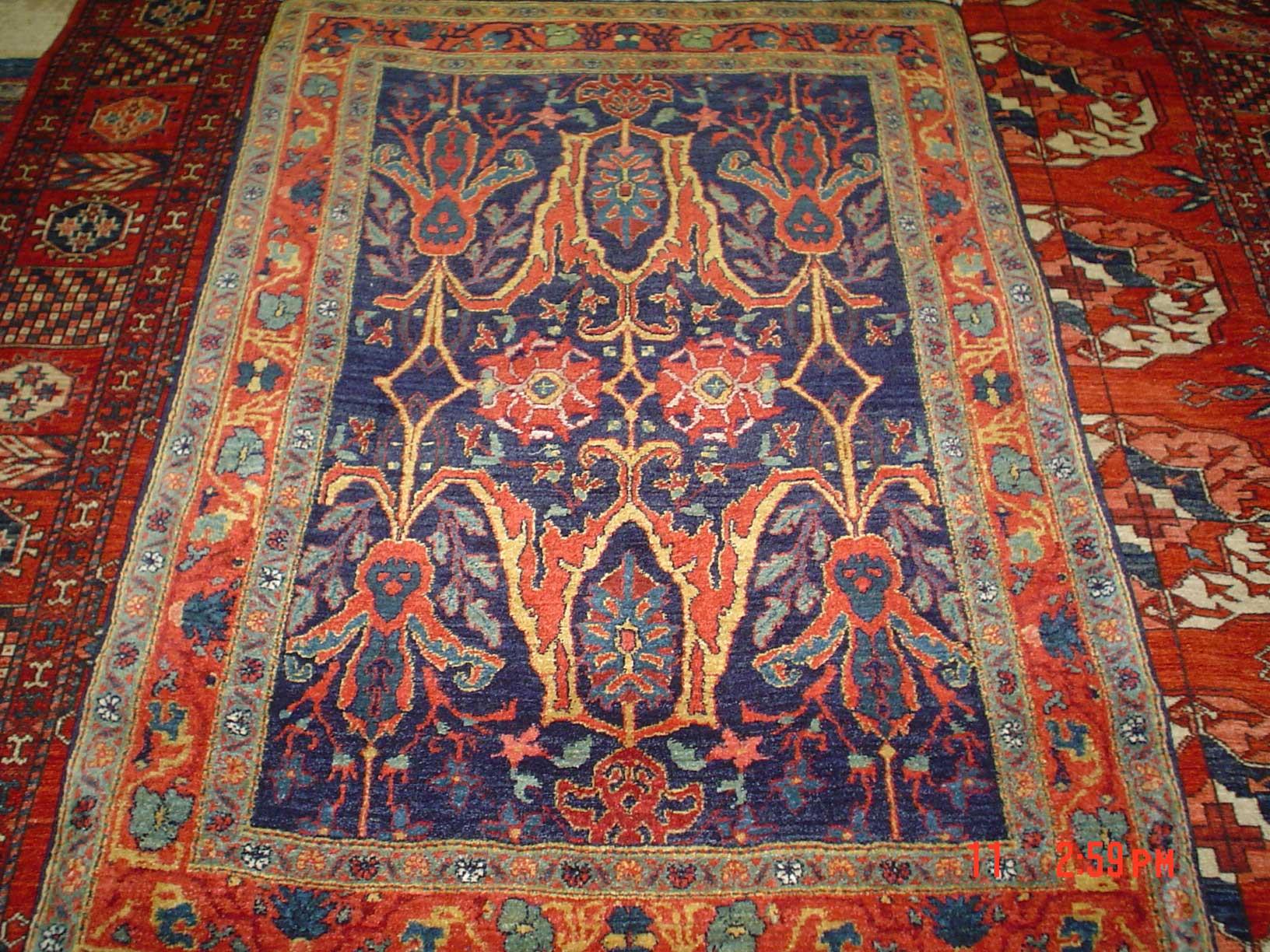 Gorgeous 3 x 5 Persian Bijar. Garrus design. Sold.