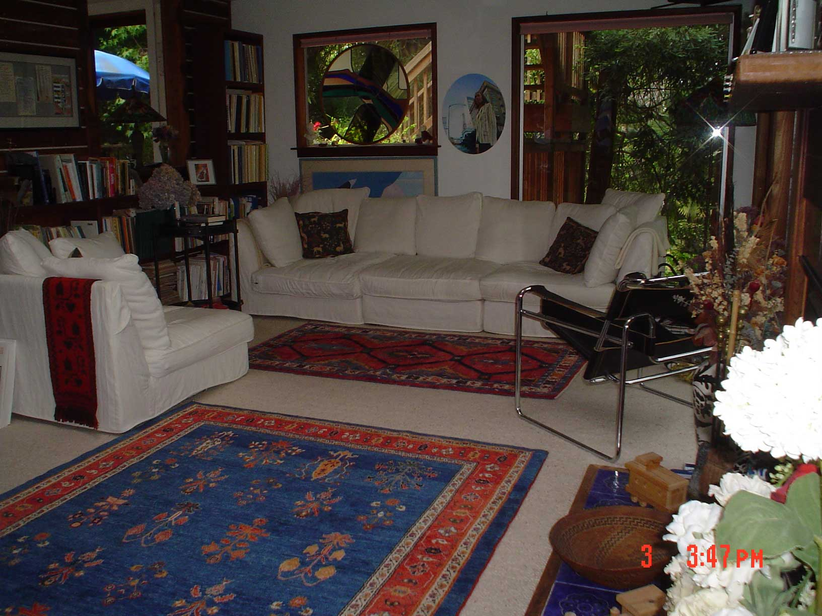 Client's home featuring two Persian tribal rugs from Paradise Oriental Rugs, Inc., in Sebastopol, CA.