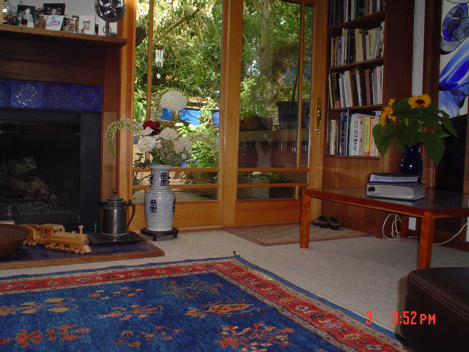 Additional view of lovely blue Khamsebaf rug! Client's living room with her new rug.
